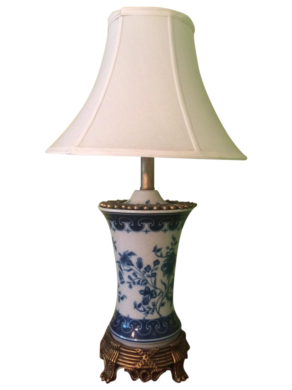 chinoiserie table lamp in blue   white porcelain chairish