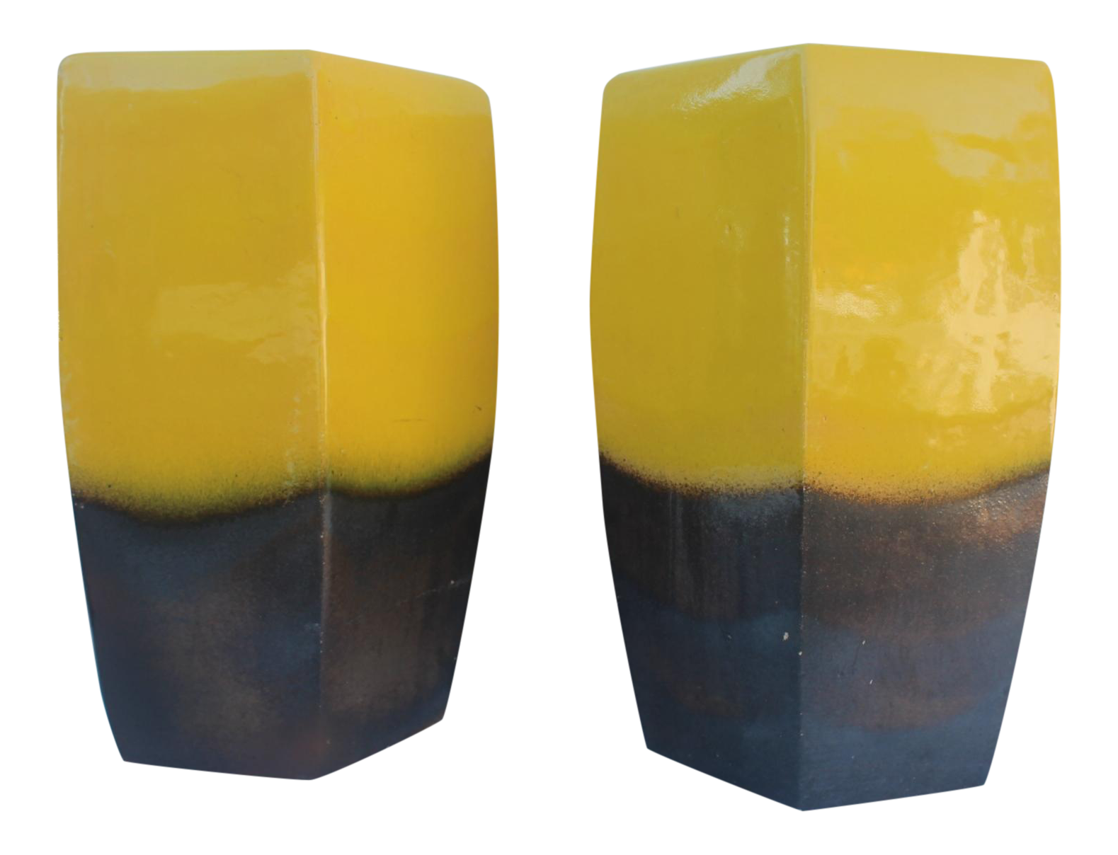 Vintage Yellow Ceramic Garden Stools A Pair Chairish