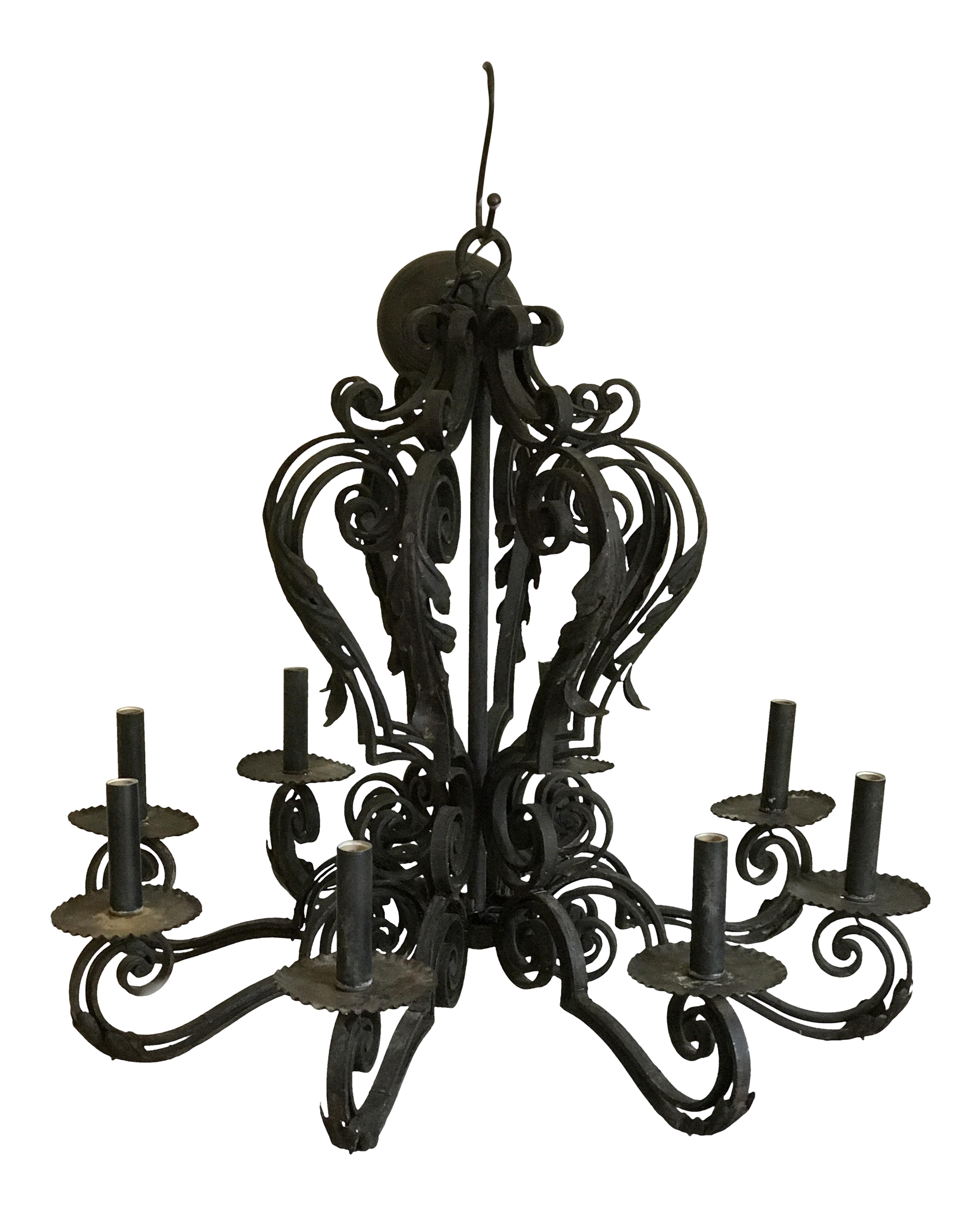 Grand Spanish Mission Black Wrought Iron Eight Arm Chandelier