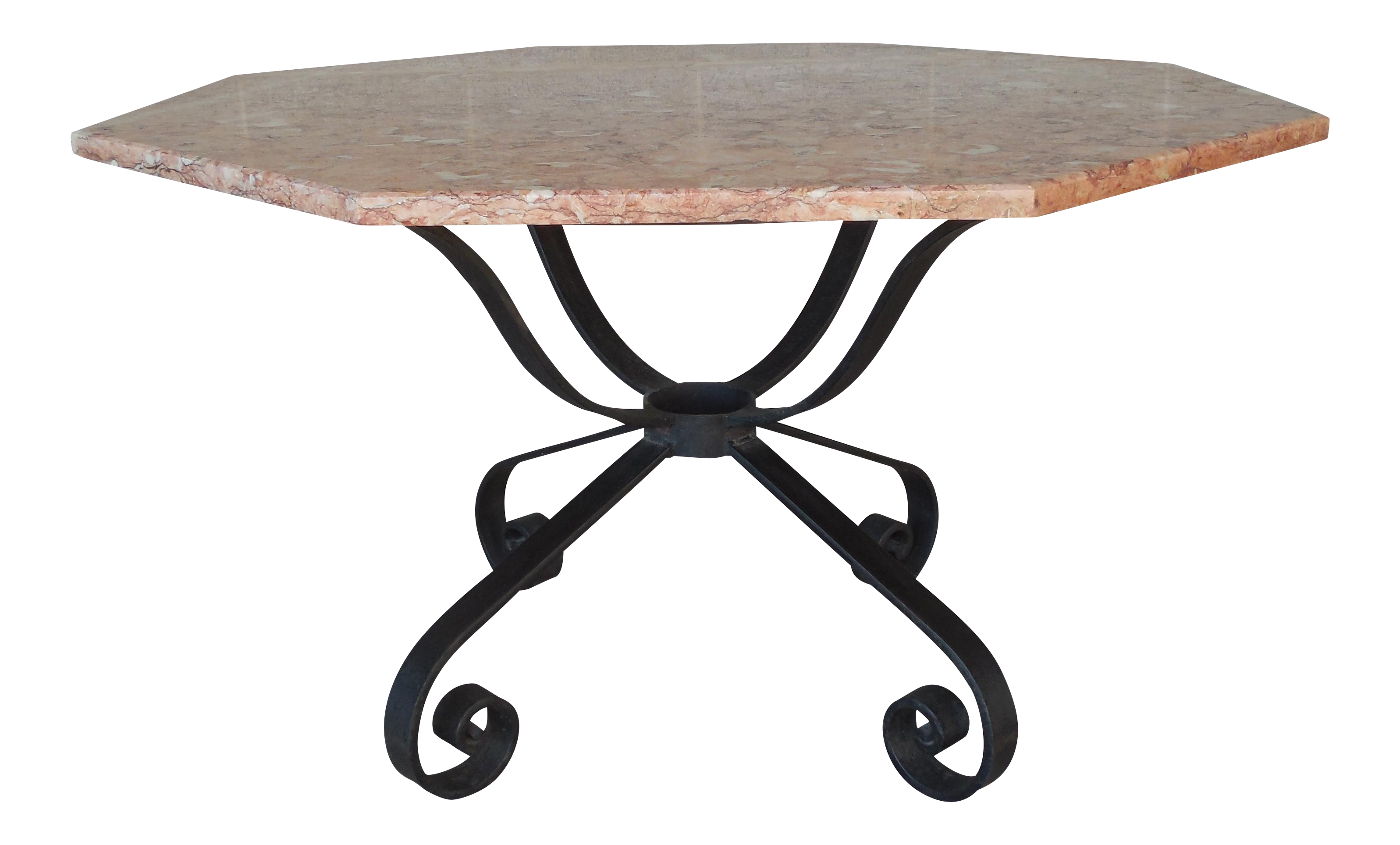 Vintage Spanish Style Wrought Iron Base Marble Top Table