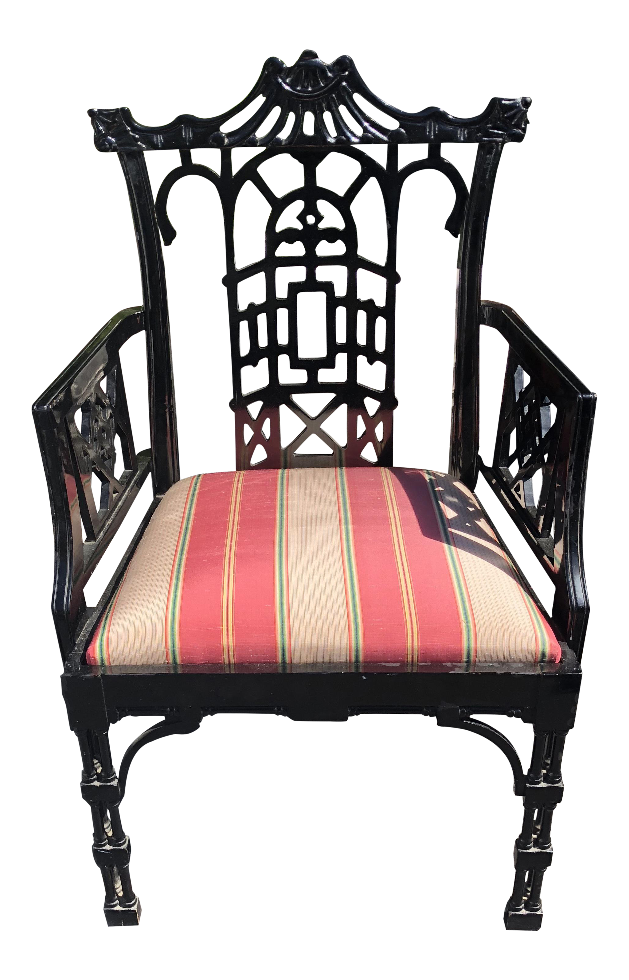 Baker Furniture Company Chinese Chippendale Black Lacquer Arm Chair -