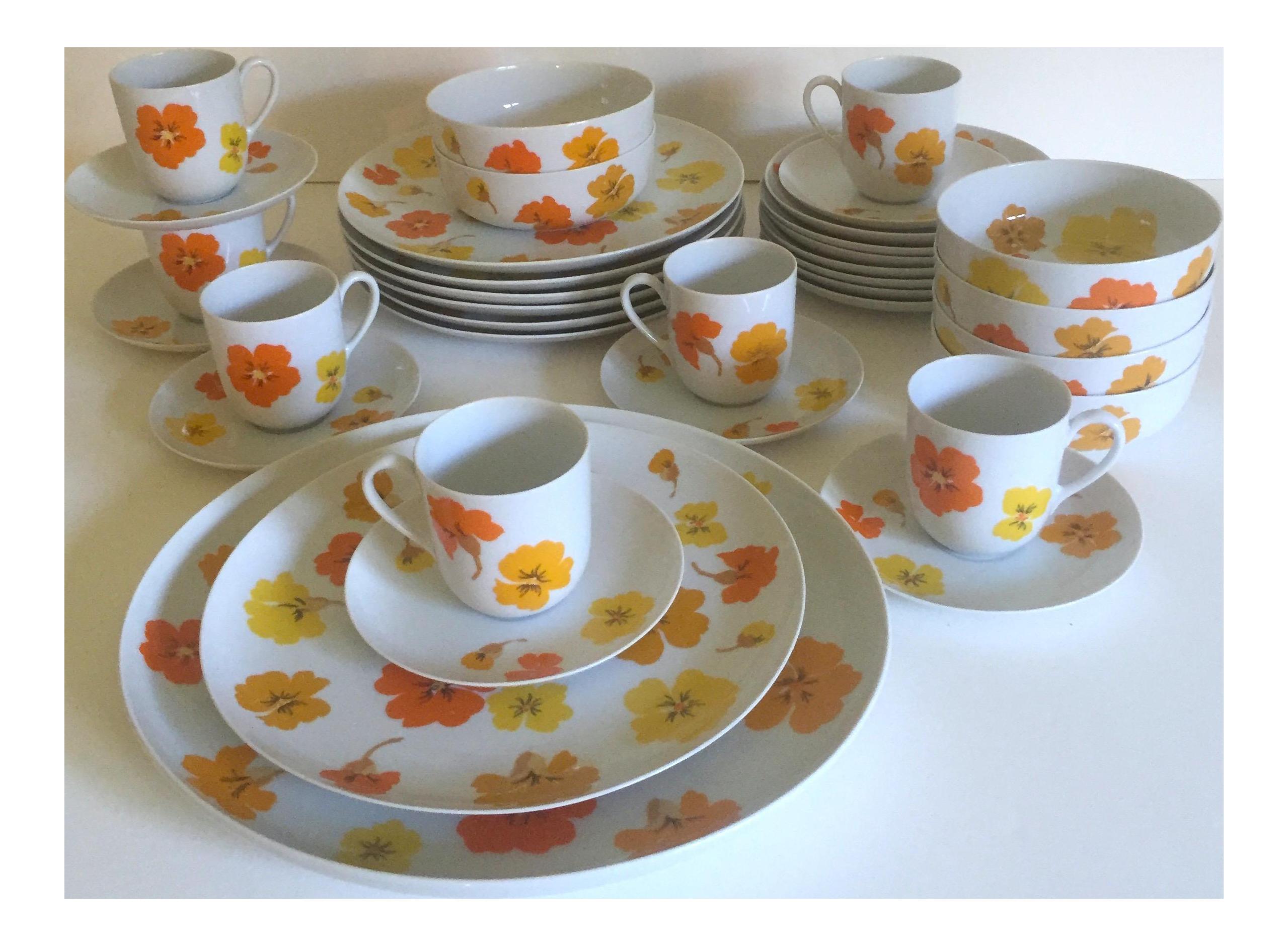 Mid Century Modern Suisse Langenthal Nasturtium Porcelain Dinnerware - Set of 35 | Chairish  sc 1 st  Chairish & Mid Century Modern Suisse Langenthal Nasturtium Porcelain Dinnerware ...