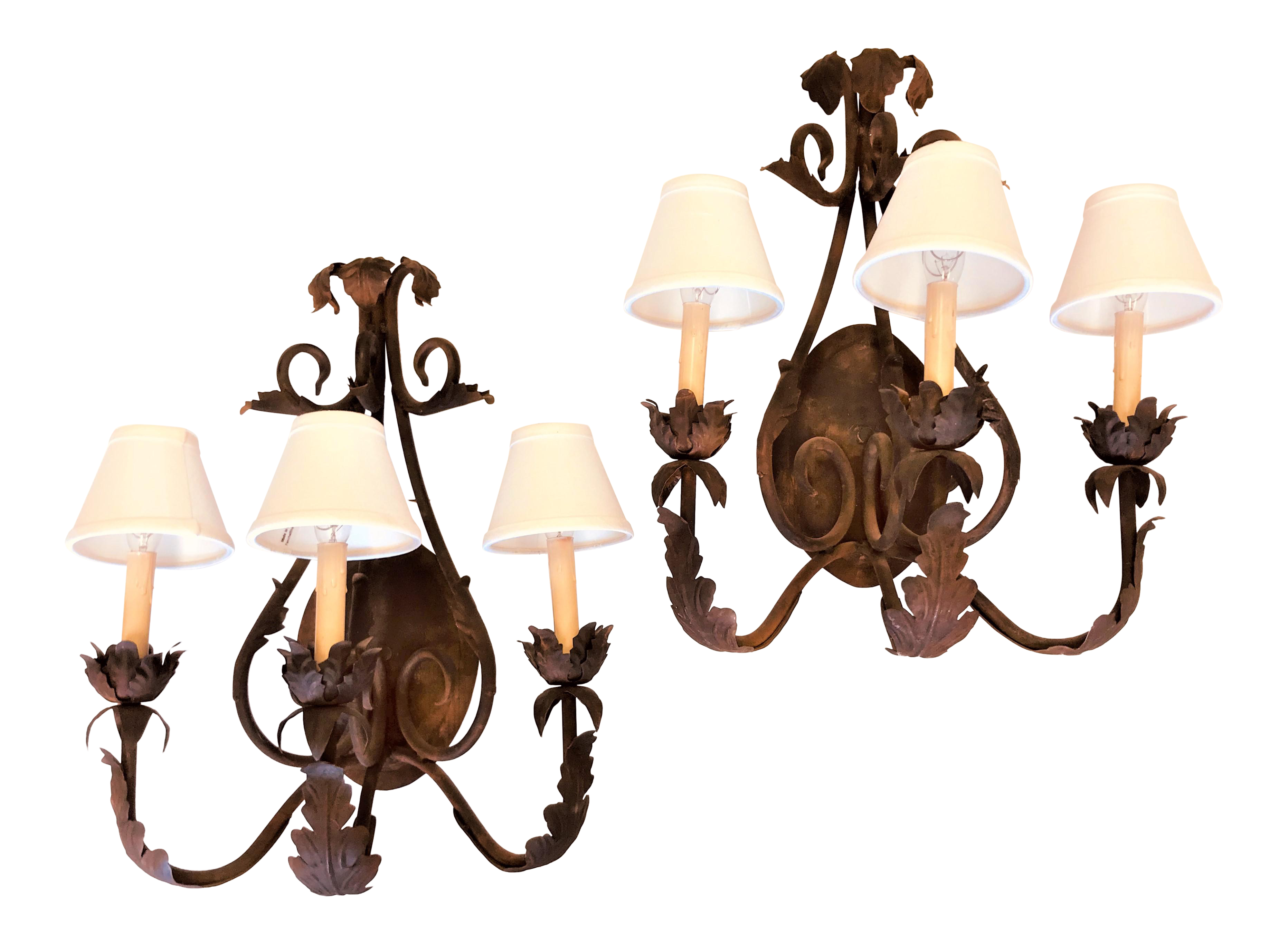 Picture of: Vintage French Country Bronze 3 Candle Wall Sconces With White Linen Shades A Pair Chairish