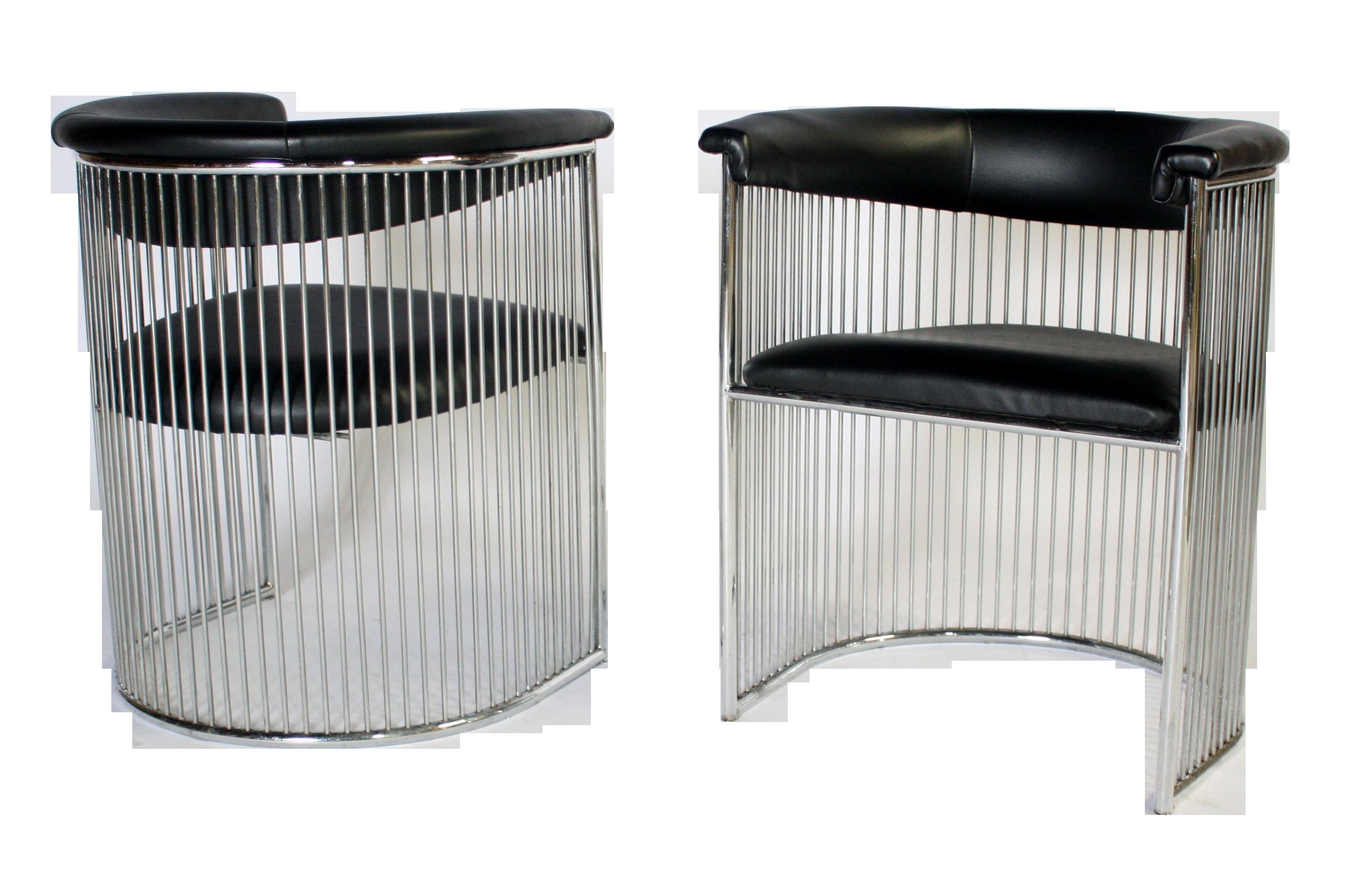 sc 1 st  Chairish & Platner Style Chrome u0026 Black Vinyl Chairs - A Pair | Chairish