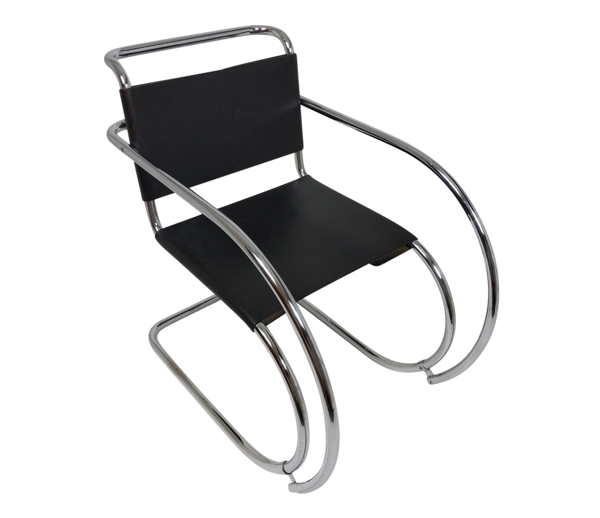 Mies Van Der Rohe Mr Lounge Chair Black Leather And Chrome Chairish