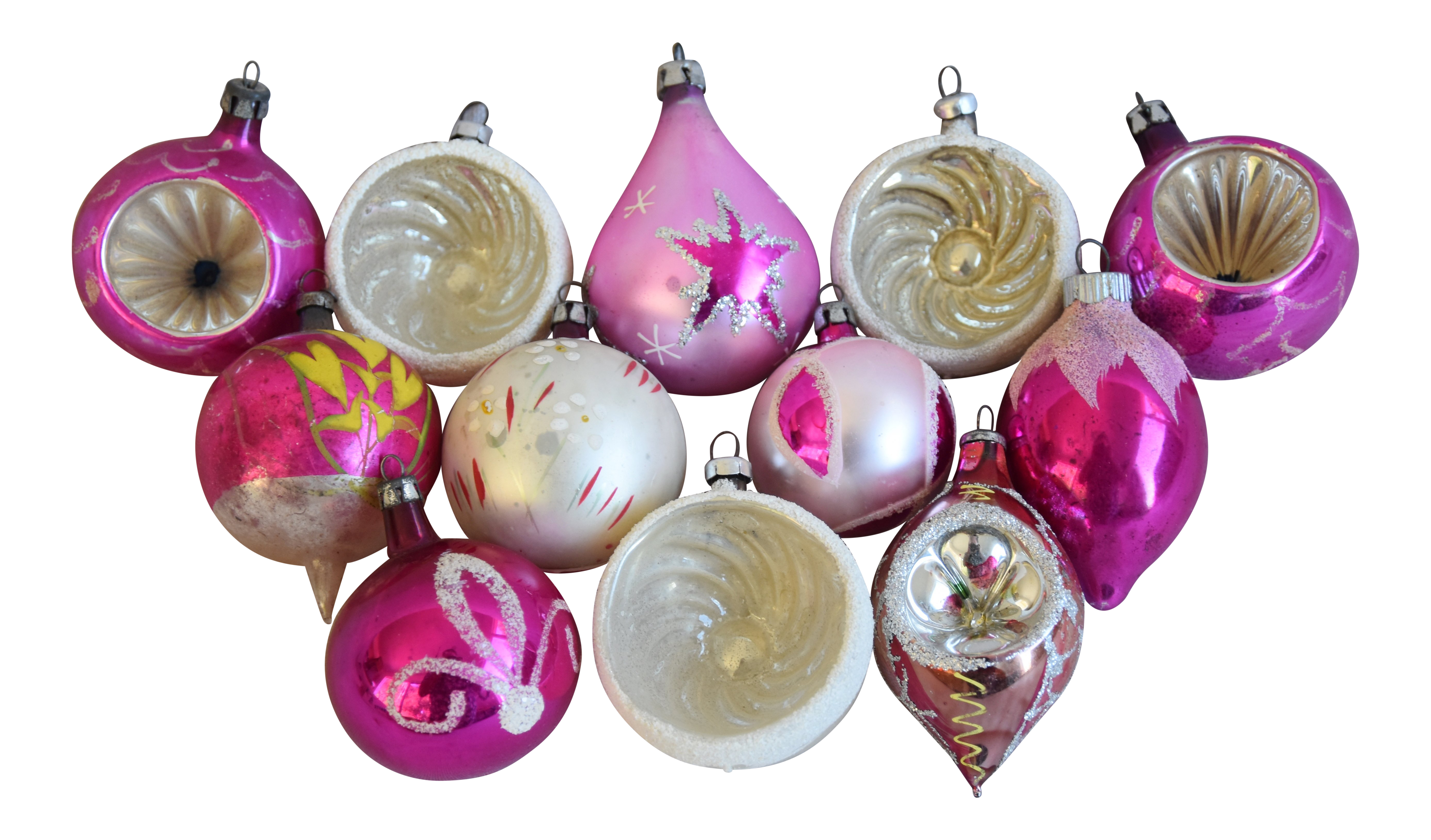 Pastel Christmas Ornaments.Pretty Vintage Pastel Christmas Tree Ornaments W Box Set Of 12
