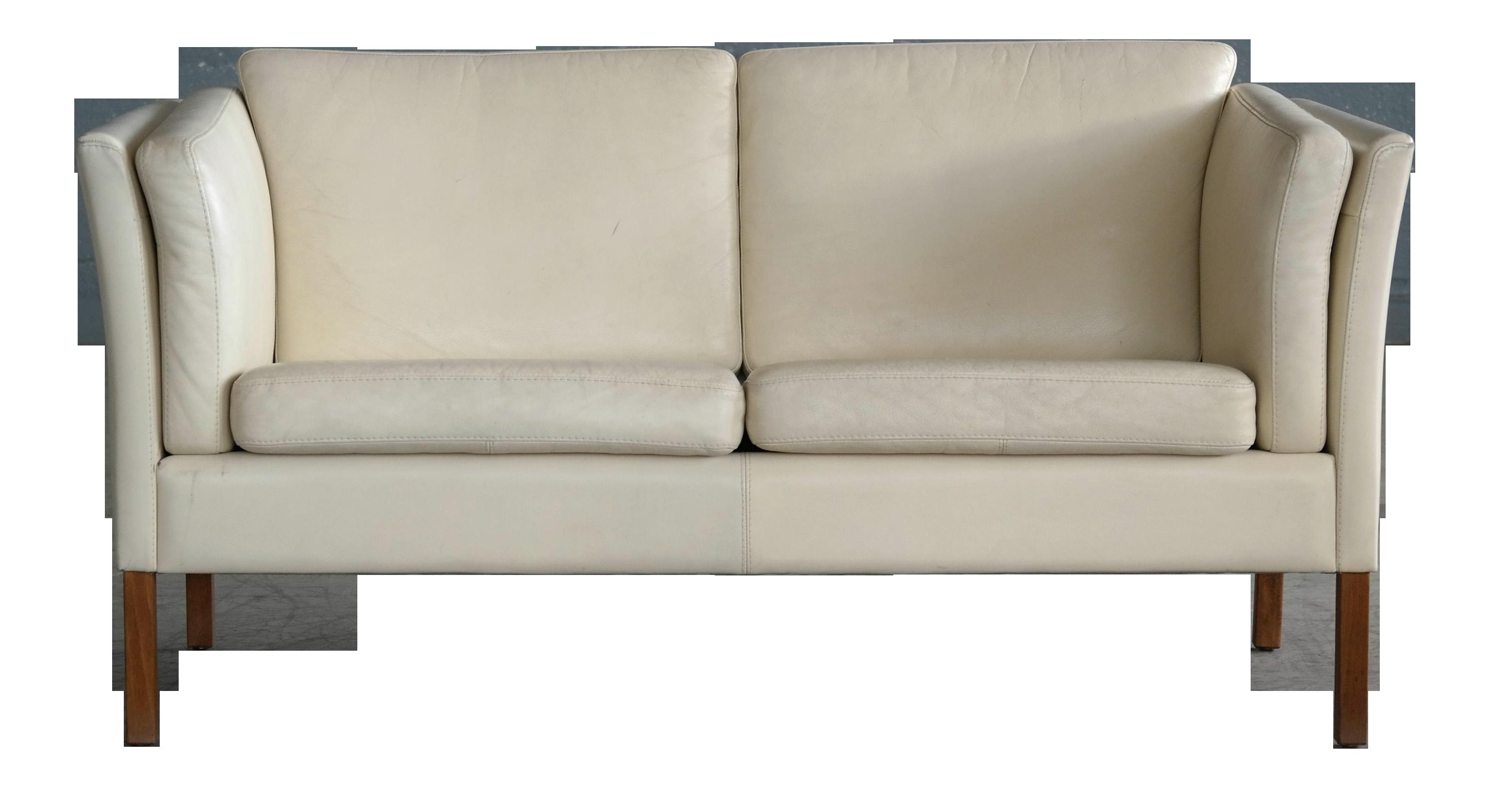 Miraculous 1960S Danish Loveseat In Cream Leather Attributed To Borge Mogensen Uwap Interior Chair Design Uwaporg
