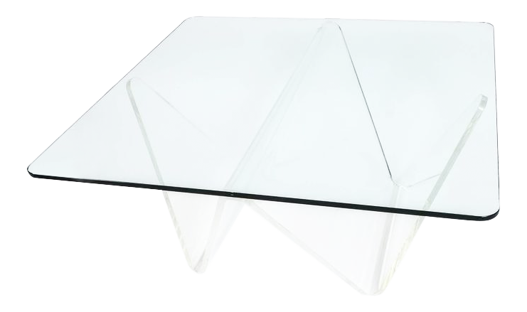 Large Lucite and Glass Wave Table, circa 1960