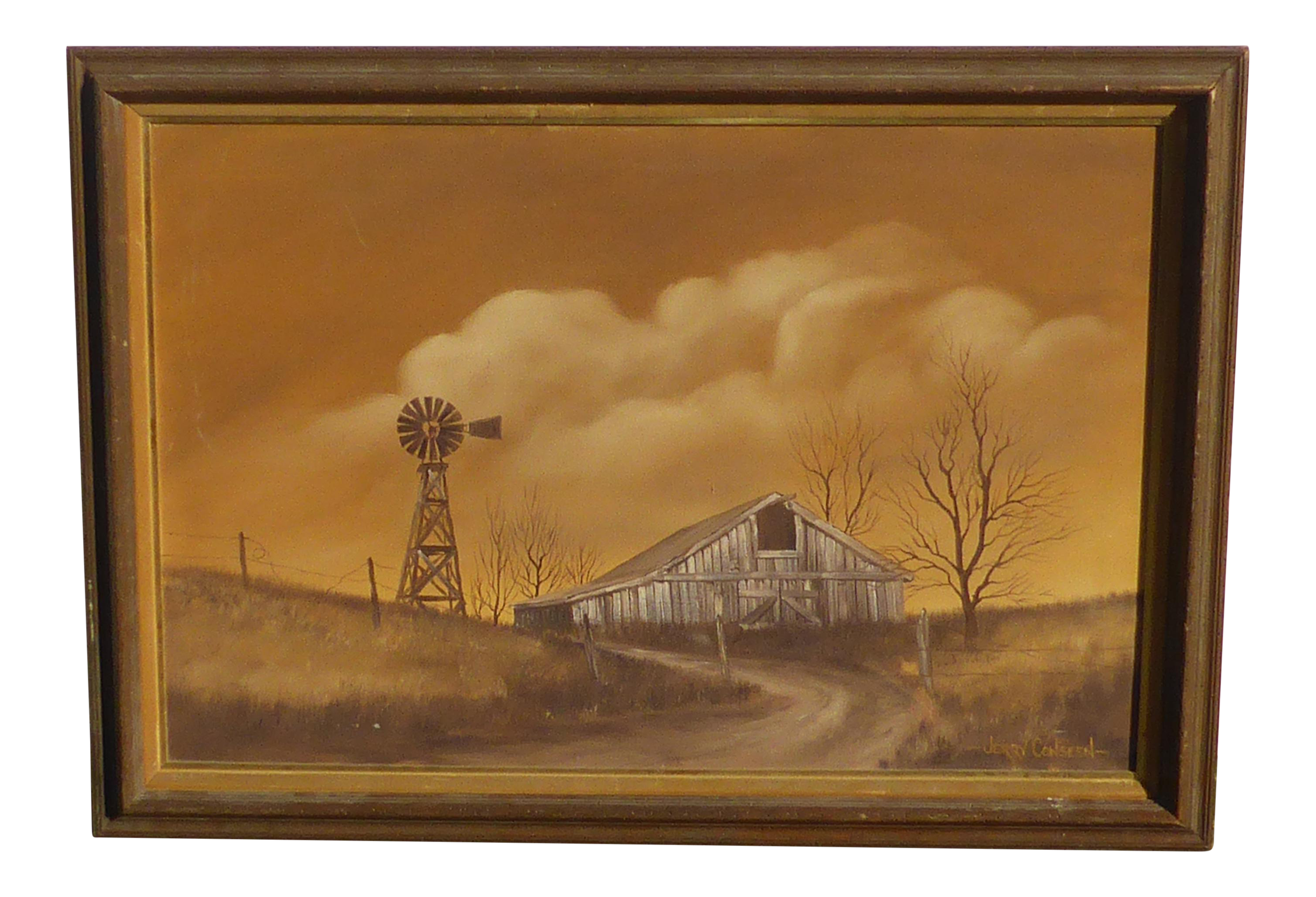 Vintage Jerry Conseen Old Barn Windmill Oil On Canvas Painting