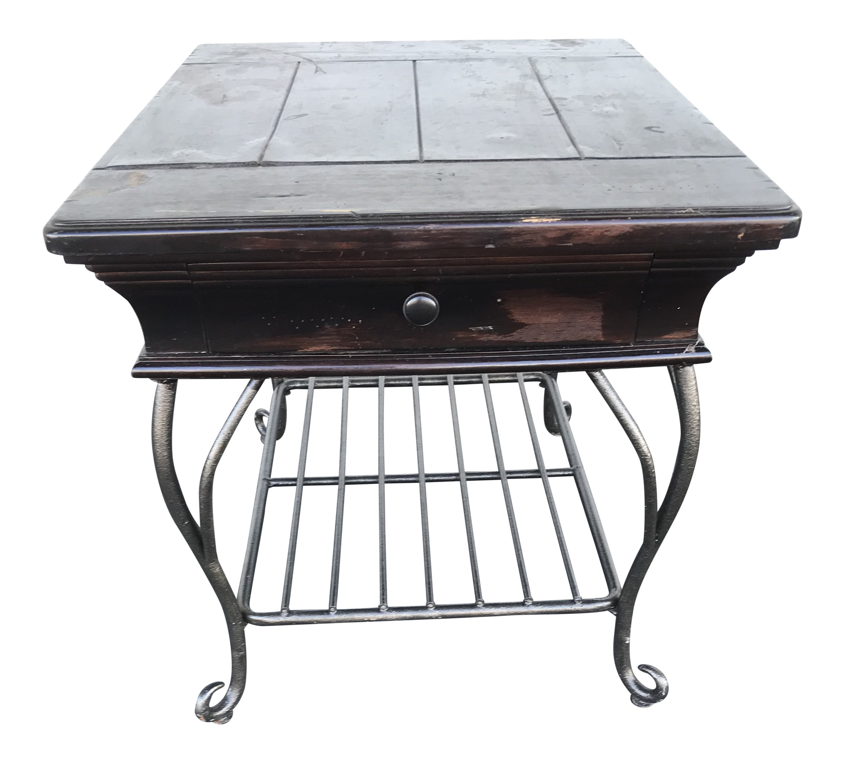 Picture of: Black Distressed Wood And Wrought Iron Table Chairish