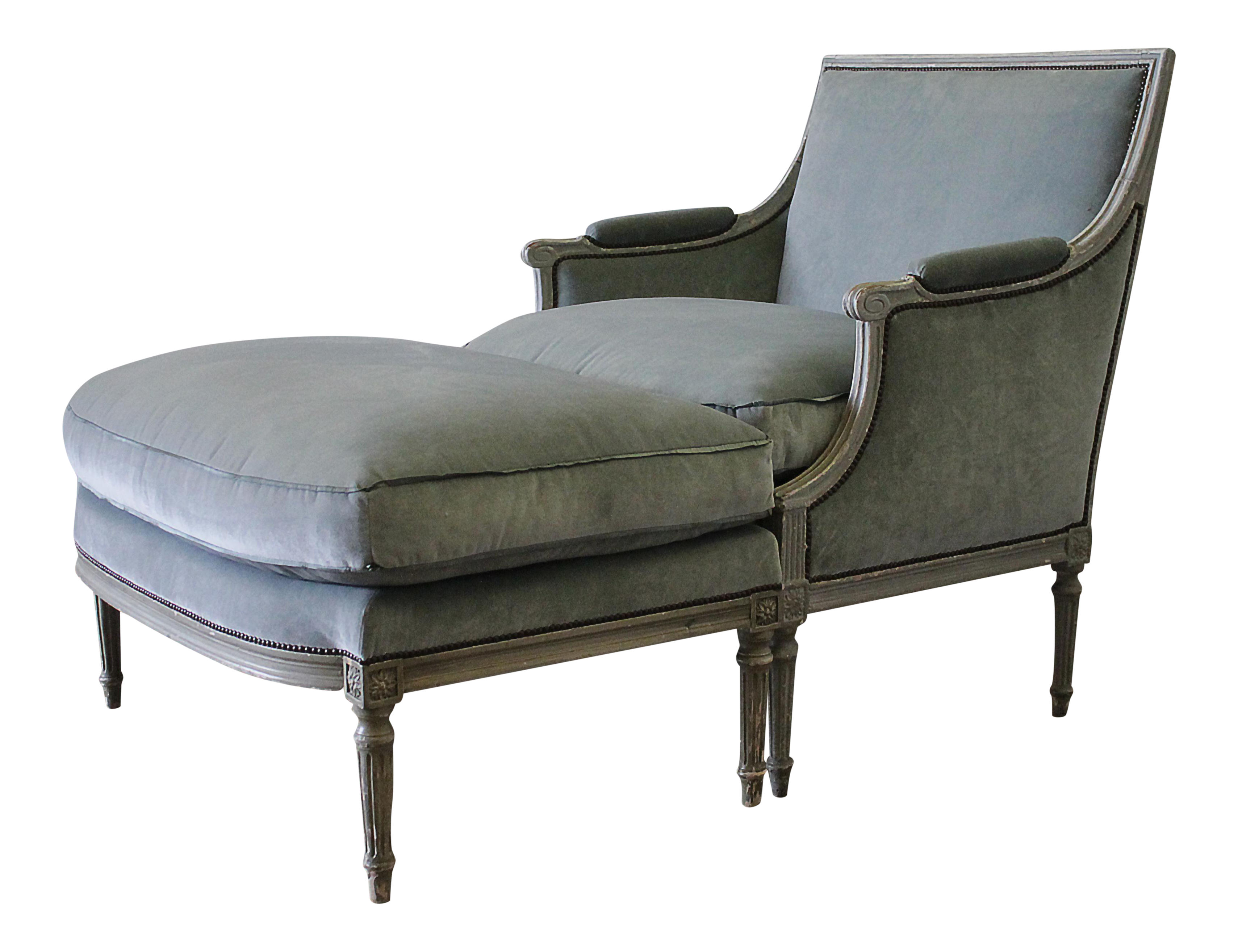 upholstered louis xvi chair ottoman chaise chairish. Black Bedroom Furniture Sets. Home Design Ideas