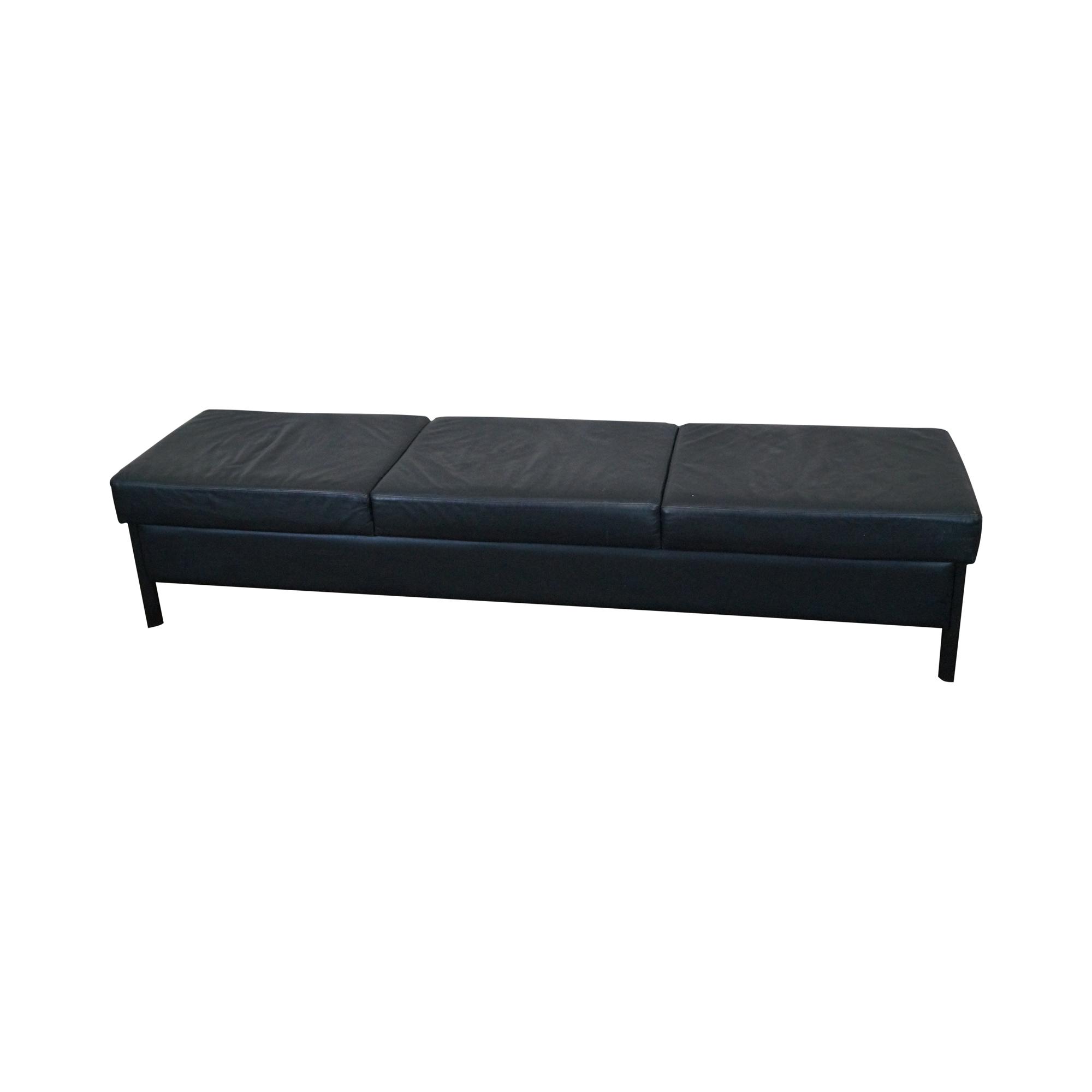 . vintage modern black leather window bench  chairish
