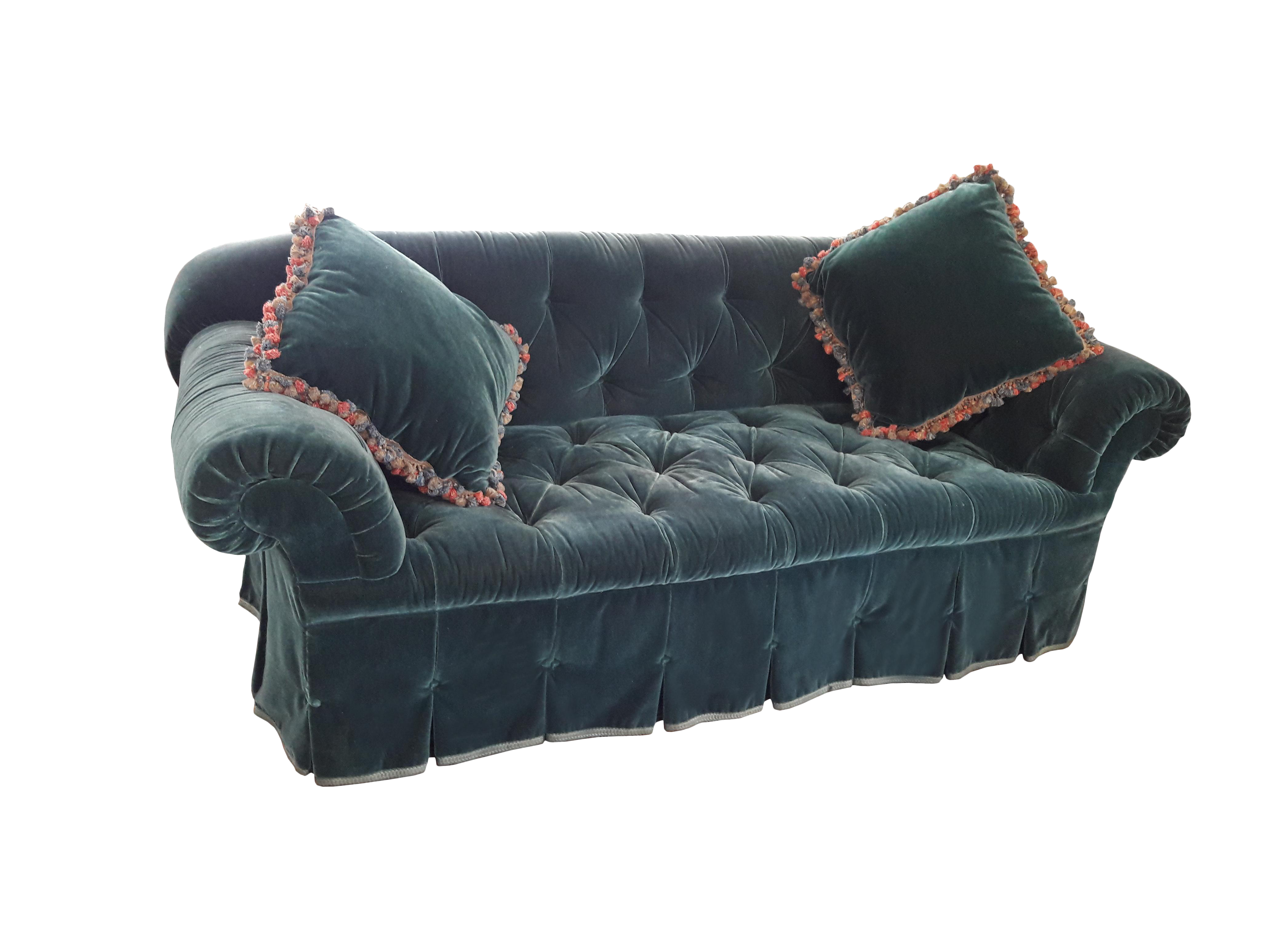 teal velvet chesterfield sofa chairish. Black Bedroom Furniture Sets. Home Design Ideas