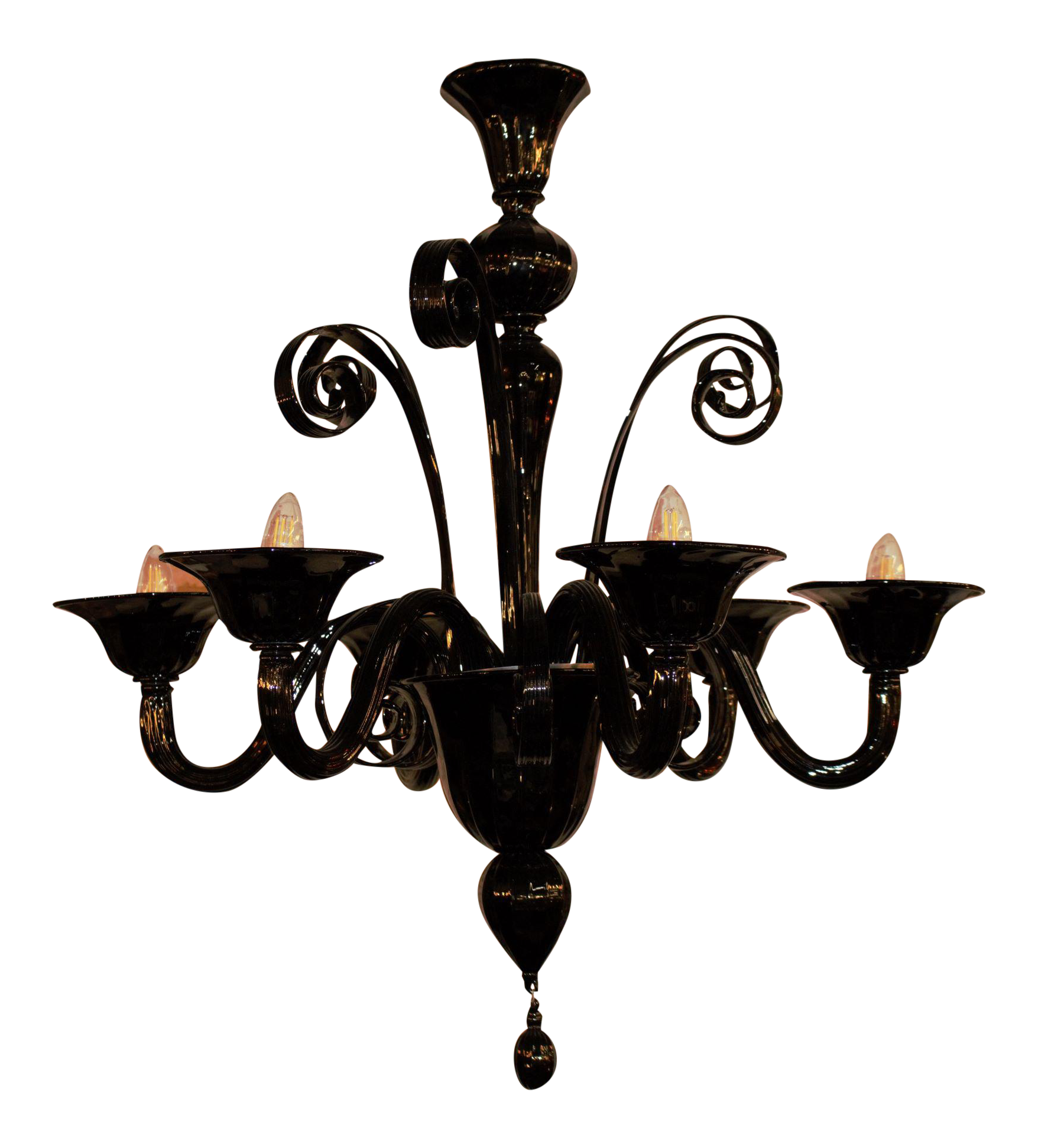 Italian Murano Glass Chandelier In Black Chairish