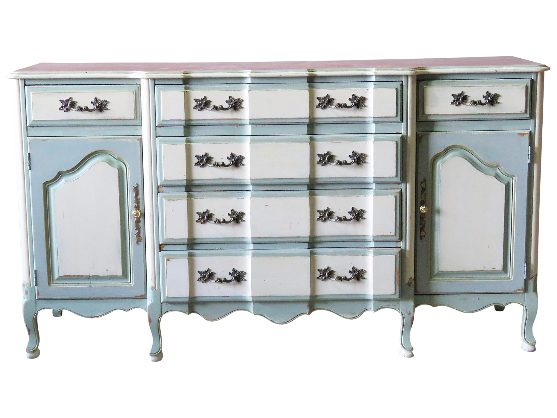 Gustavian Style Distressed Painted Sideboard | Chairish