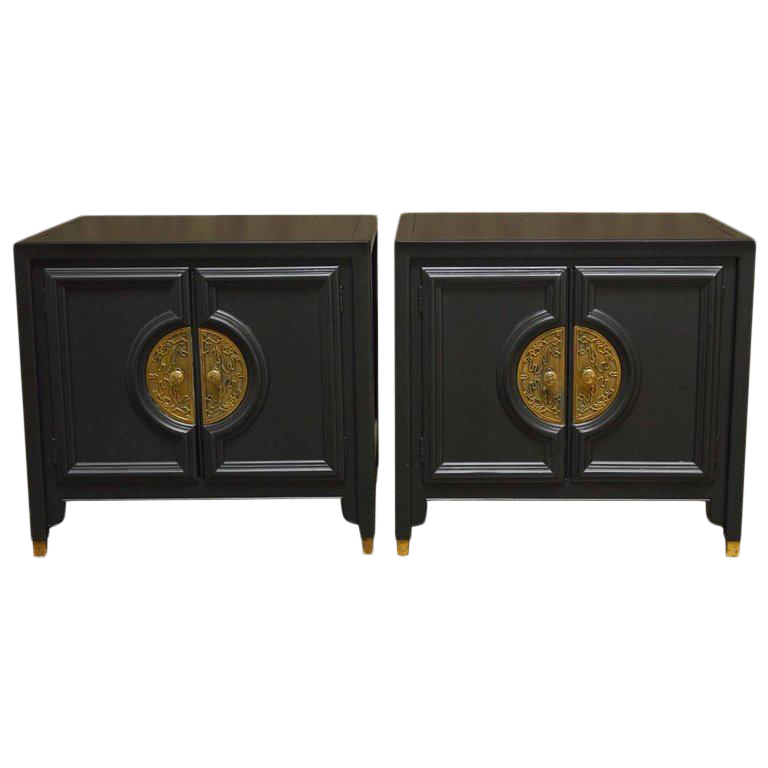 James Mont Style Century Furniture Lacquer Nightstands   A Pair