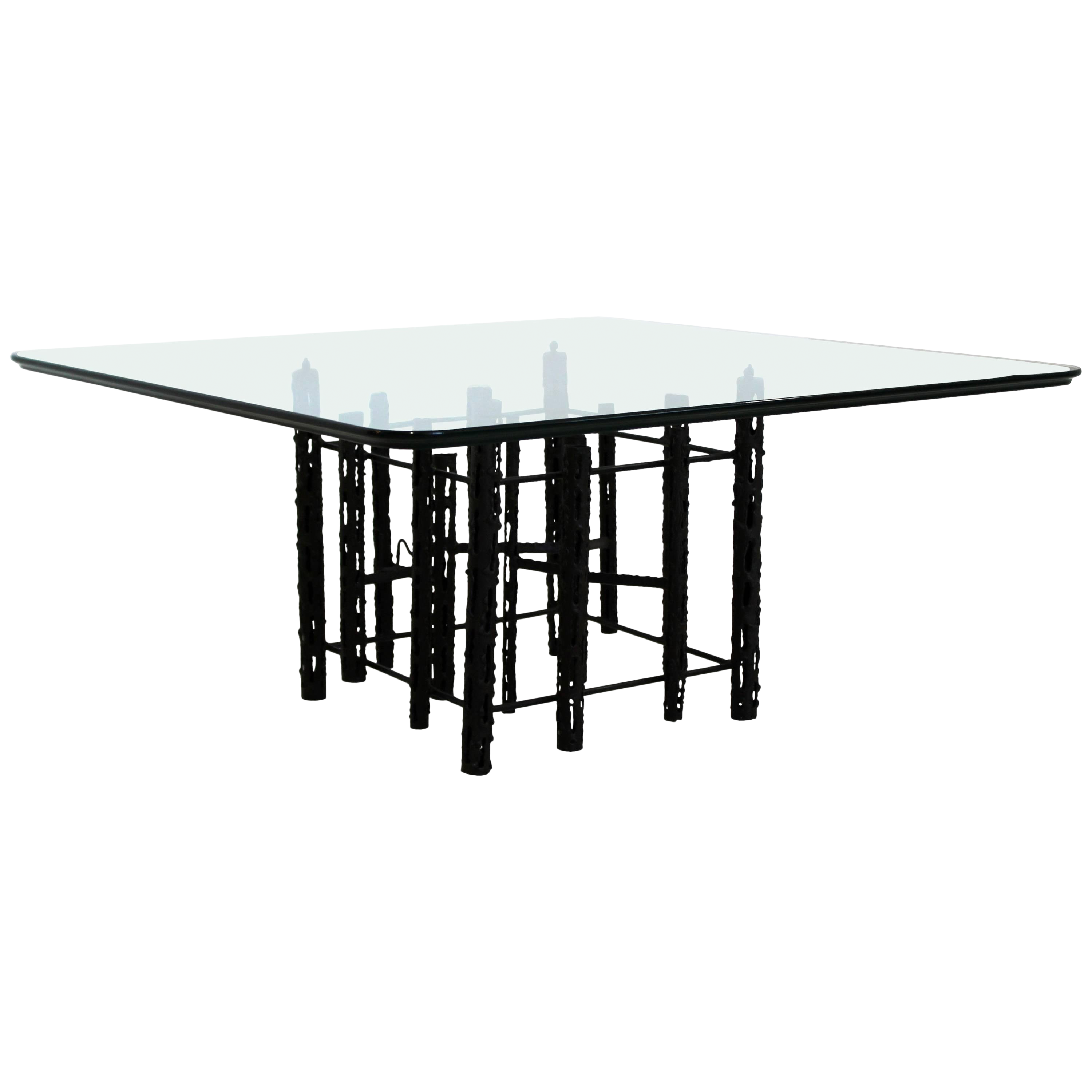 Square Coffee Table Glass Top.Mid Century Modern Brutalist Square Coffee Table Glass 1960s