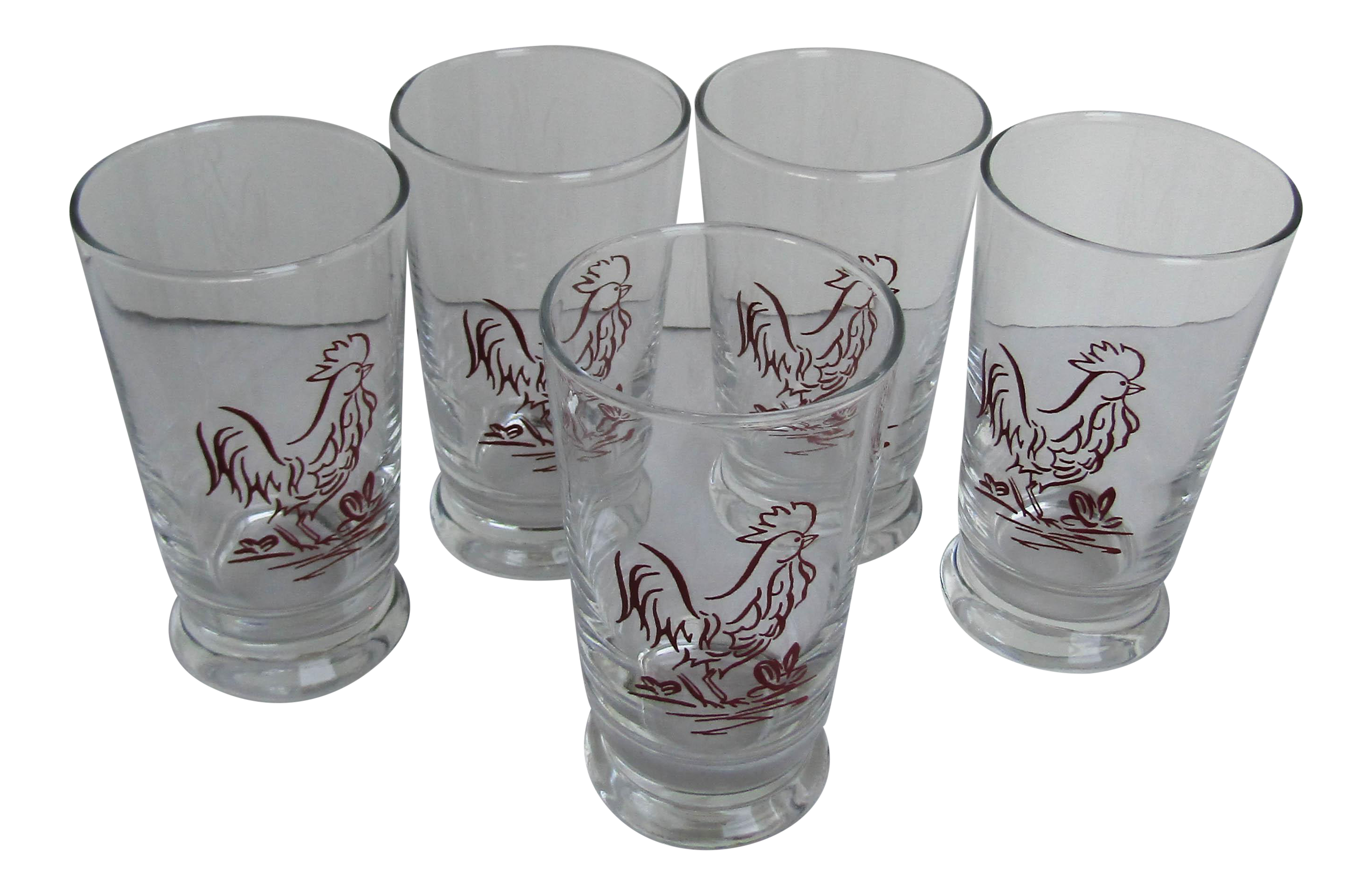 Vintage 1960s Libbey Red Rooster Drinking Glasses Set Of 5 Chairish