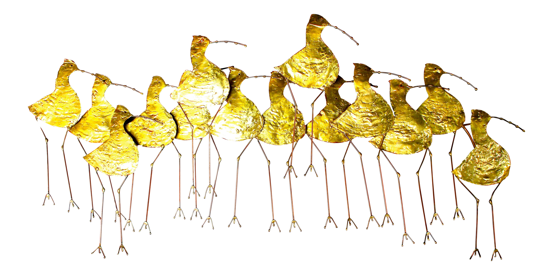 Curtis Jere Gold Metal Sandpiper Wall Art | Chairish