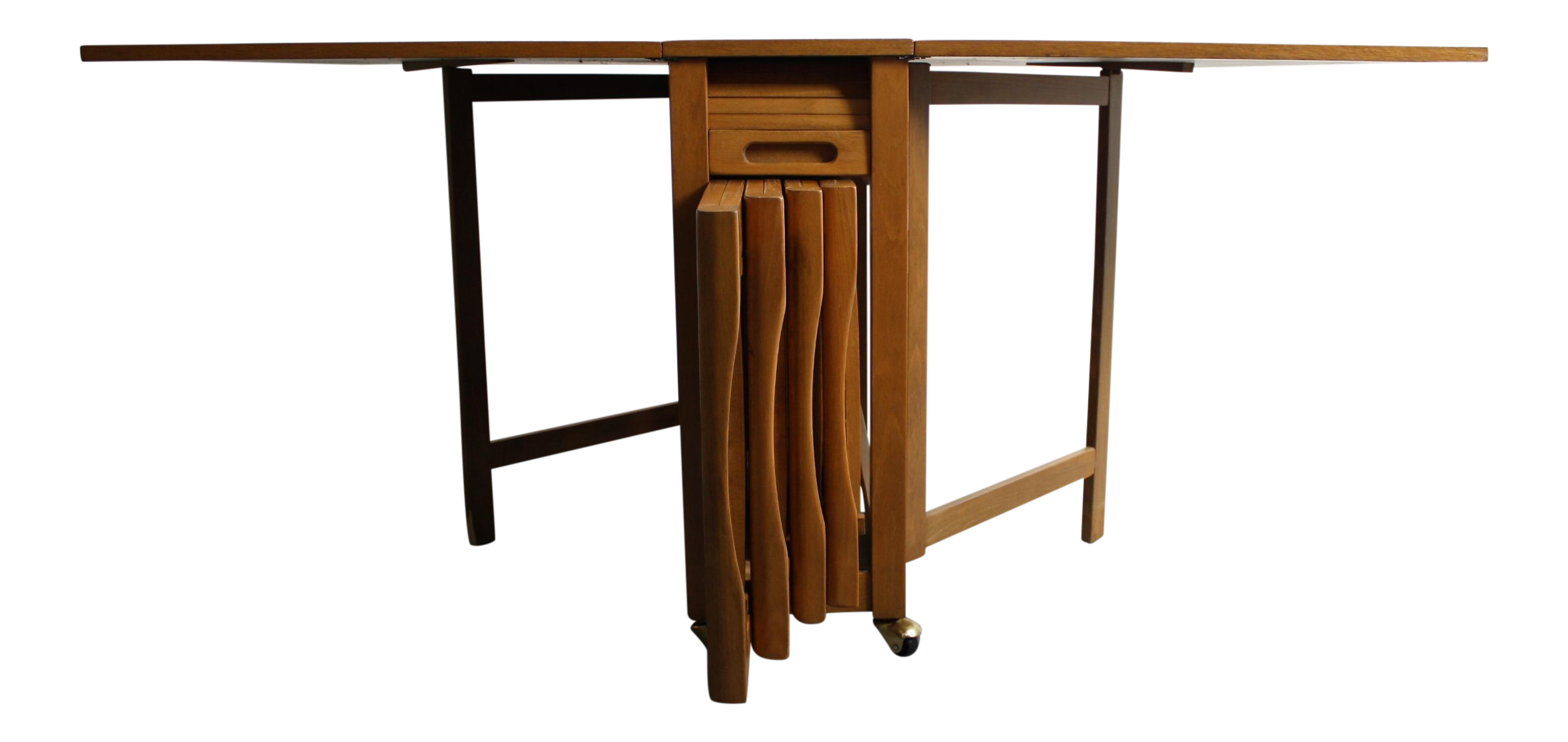 Mid-Century Drop Leaf Hideaway Table With 4 Chairs   Chairish