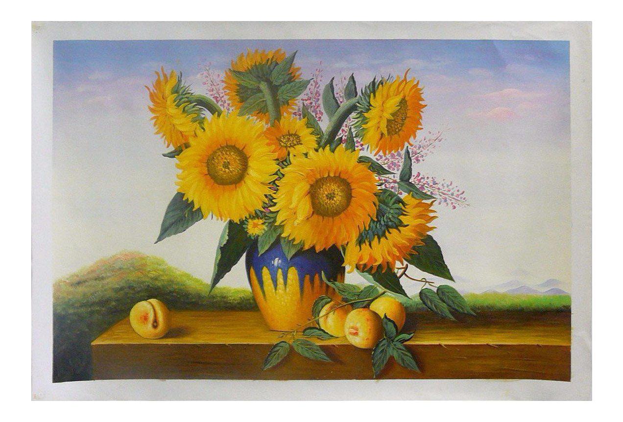 Oil Paint Canvas Art Beautiful Sunflowers In Vase Wall Decor | Chairish