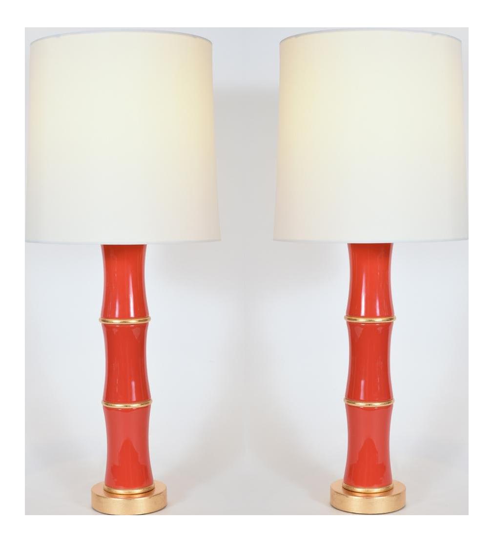 Exquisite Contemporary Orange Gold Wood Base Porcelain Table Lamps