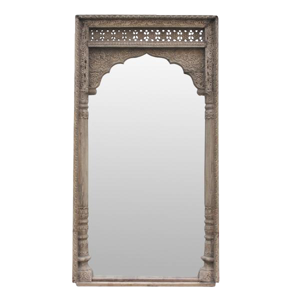 Rajwara haveli carved door frame floor mirror chairish - Mirror opposite front door ...