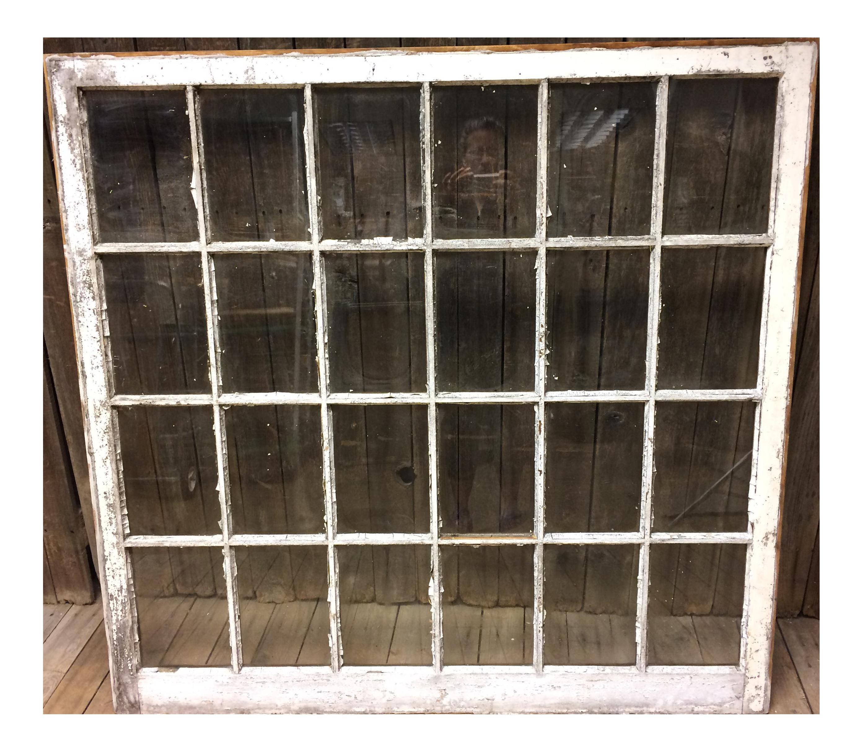 Vintage 24 Pane Wood Window
