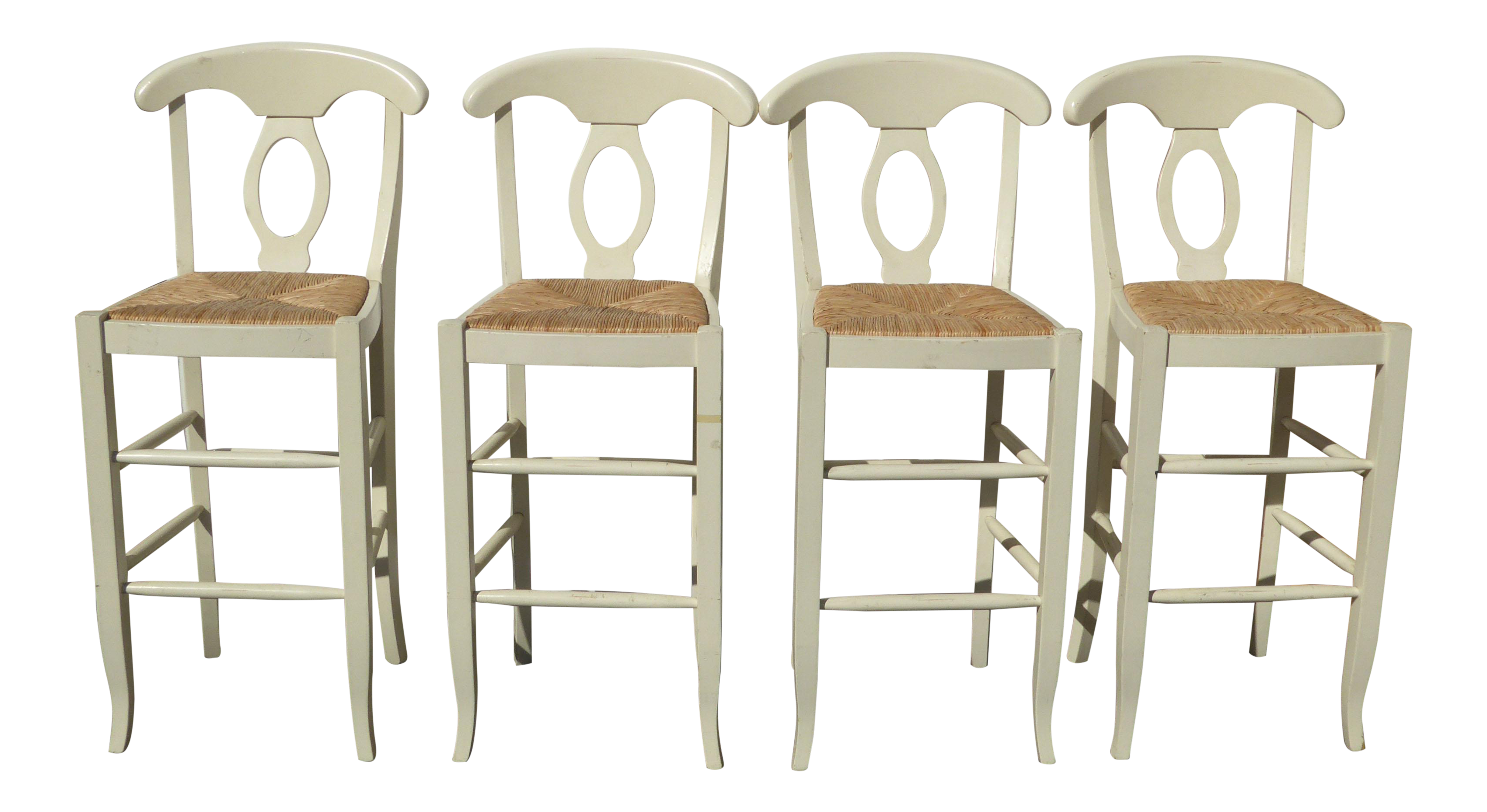 Set Of Four Vintage French Country Off White Rush Seat Bar Stools Shabby Chic Chairish