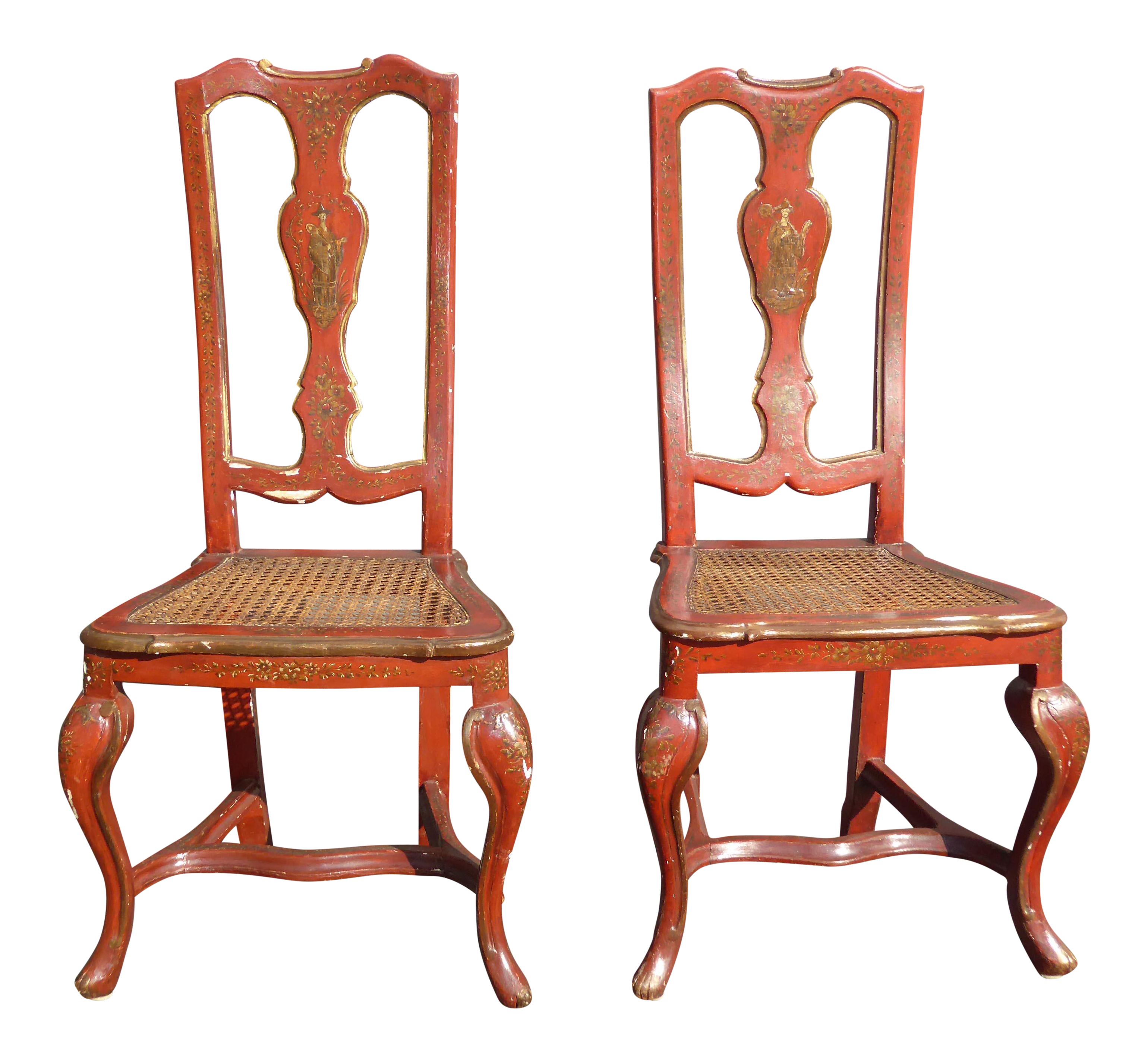 Vintage French Chinoiserie Hand Painted Red Accent Chairs  A Pair