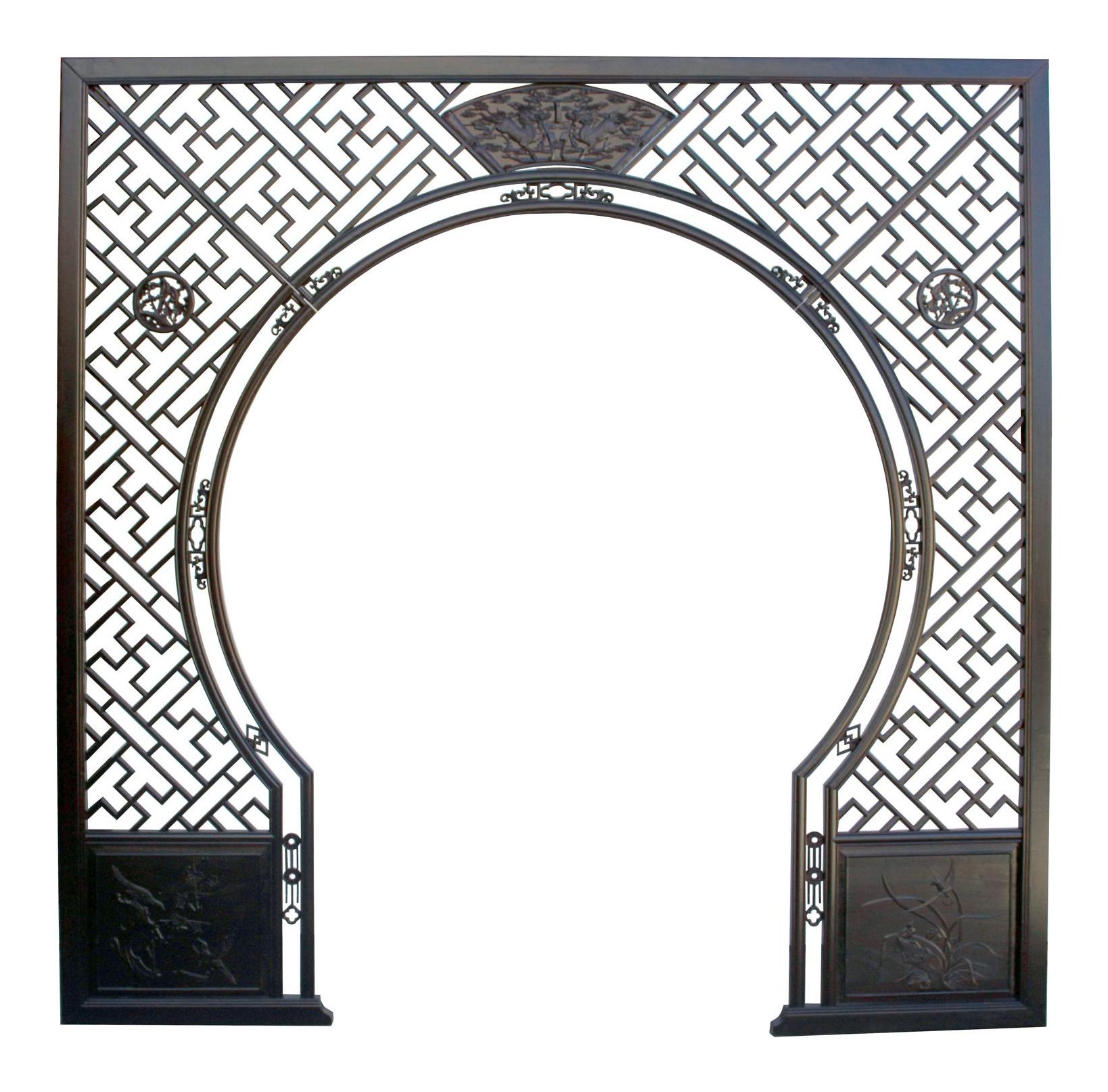 Chinese Dark Brown Kirin Wood Around Arch Wood Room Divider Chairish