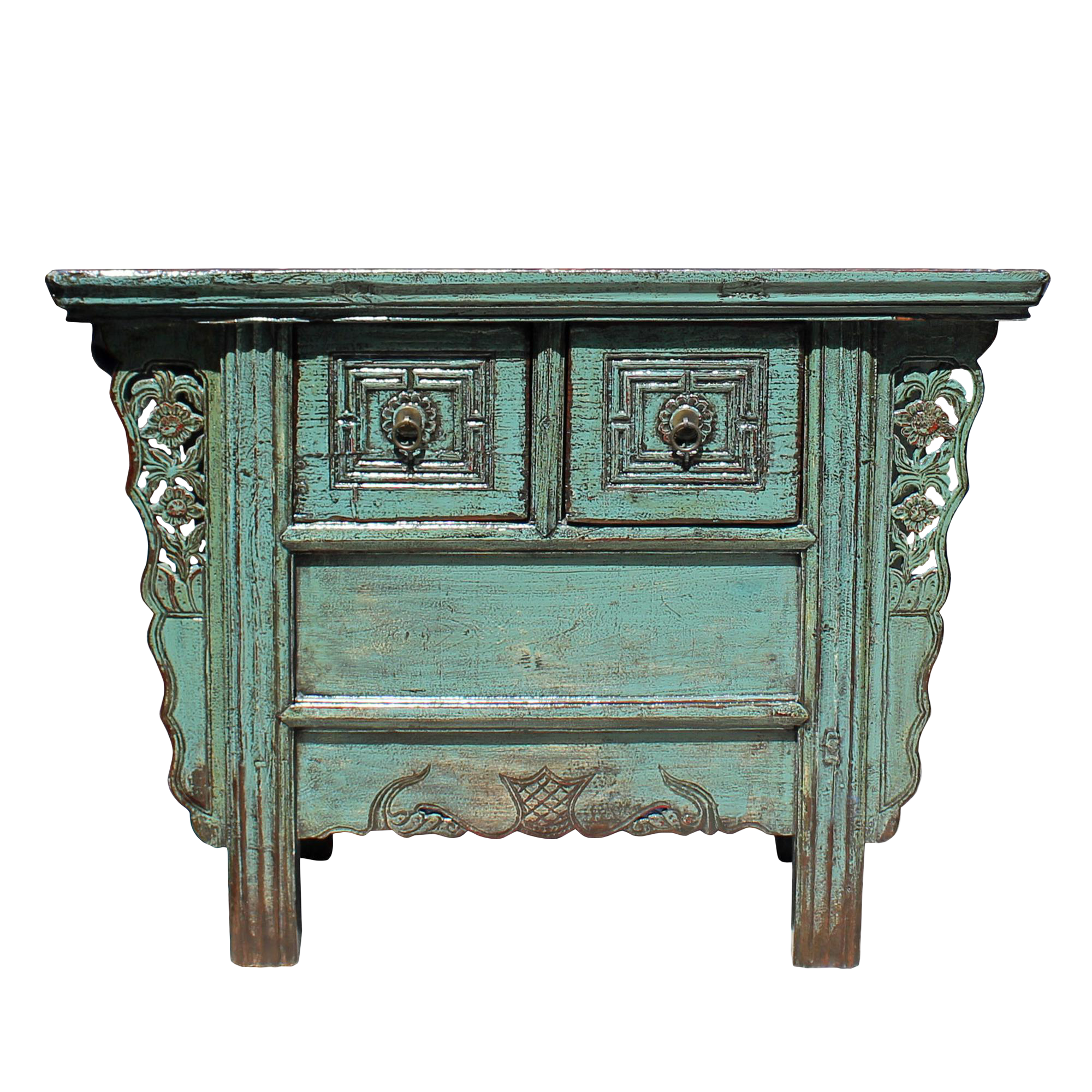 - Chinese Vintage 2 Drawers Carving Distressed Gray Blue Side Table