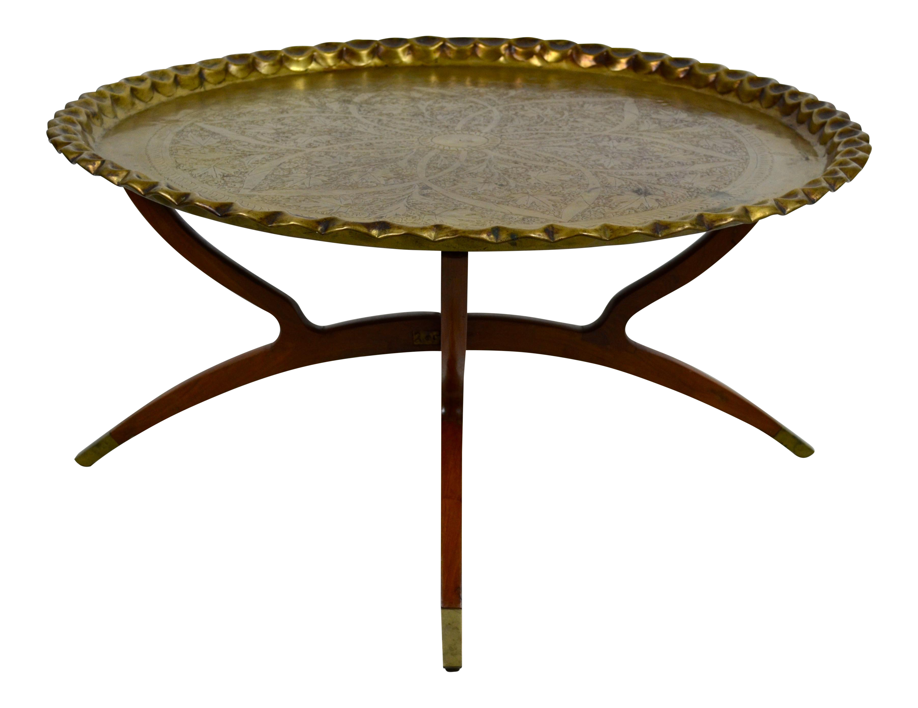 1960s Anglo Indian Round Brass Tray Top Spider Leg Base Coffee Table Chairish