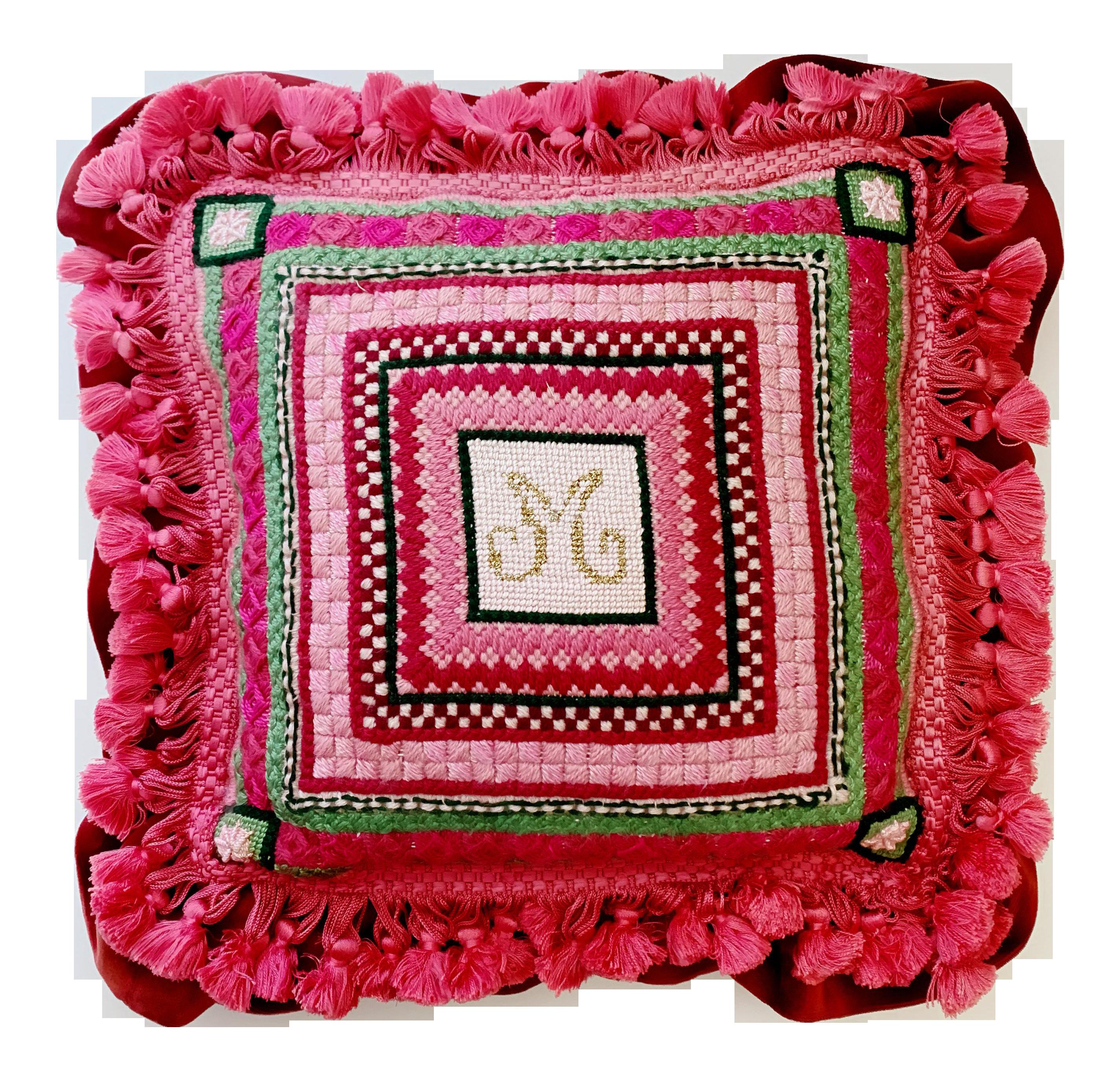 Vintage Ca 1960s Monogram M Or W Needlepoint Pillow Chairish