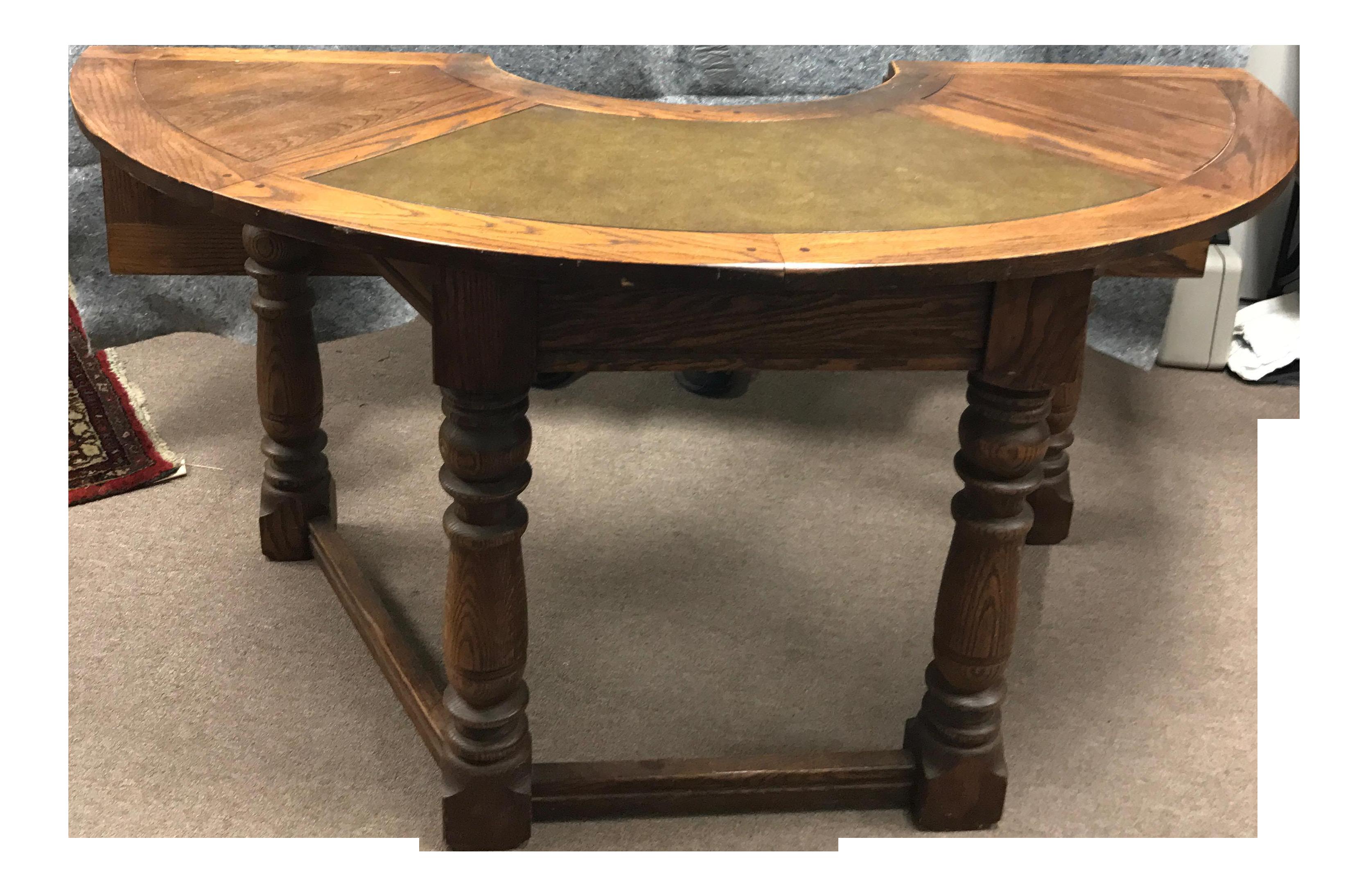 vintage oak half circle desk chairish rh chairish com semi circle desk ikea semi circle desk