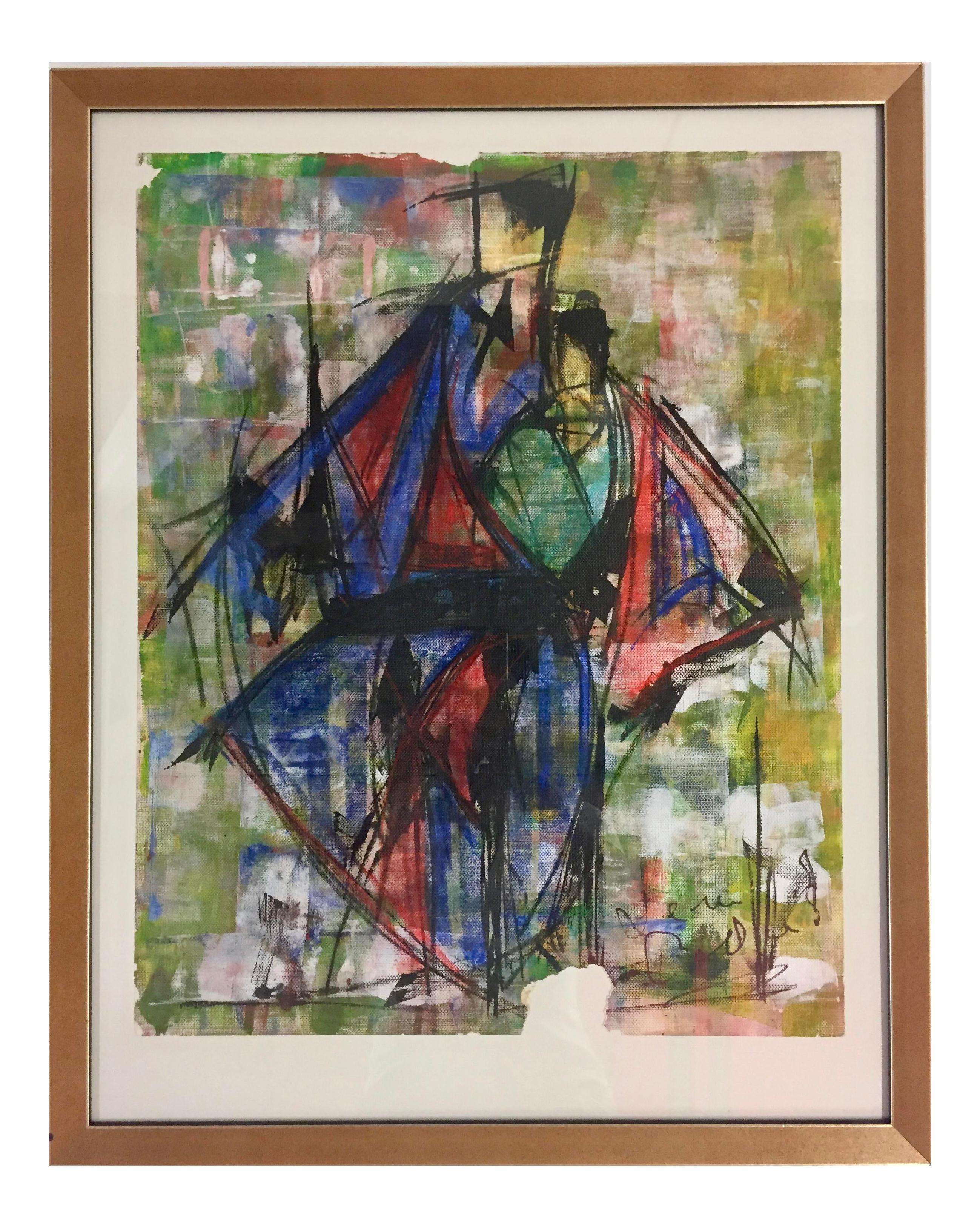 Abstract Leon Collard Original Fashion Sketch Painting Chairish