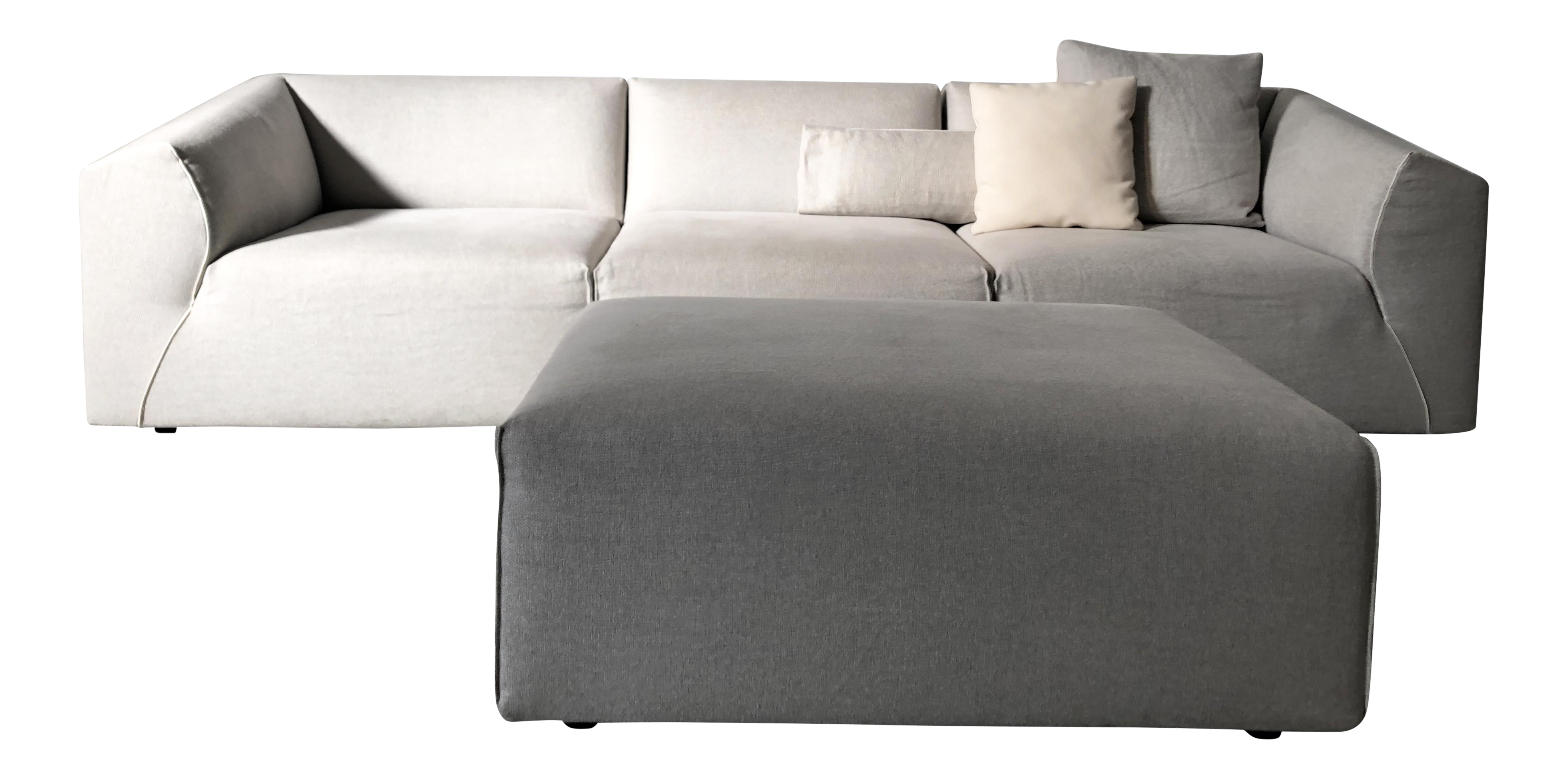 Modern Modular Sofa and Ottoman Light Grey and White Piping by Mdf ...