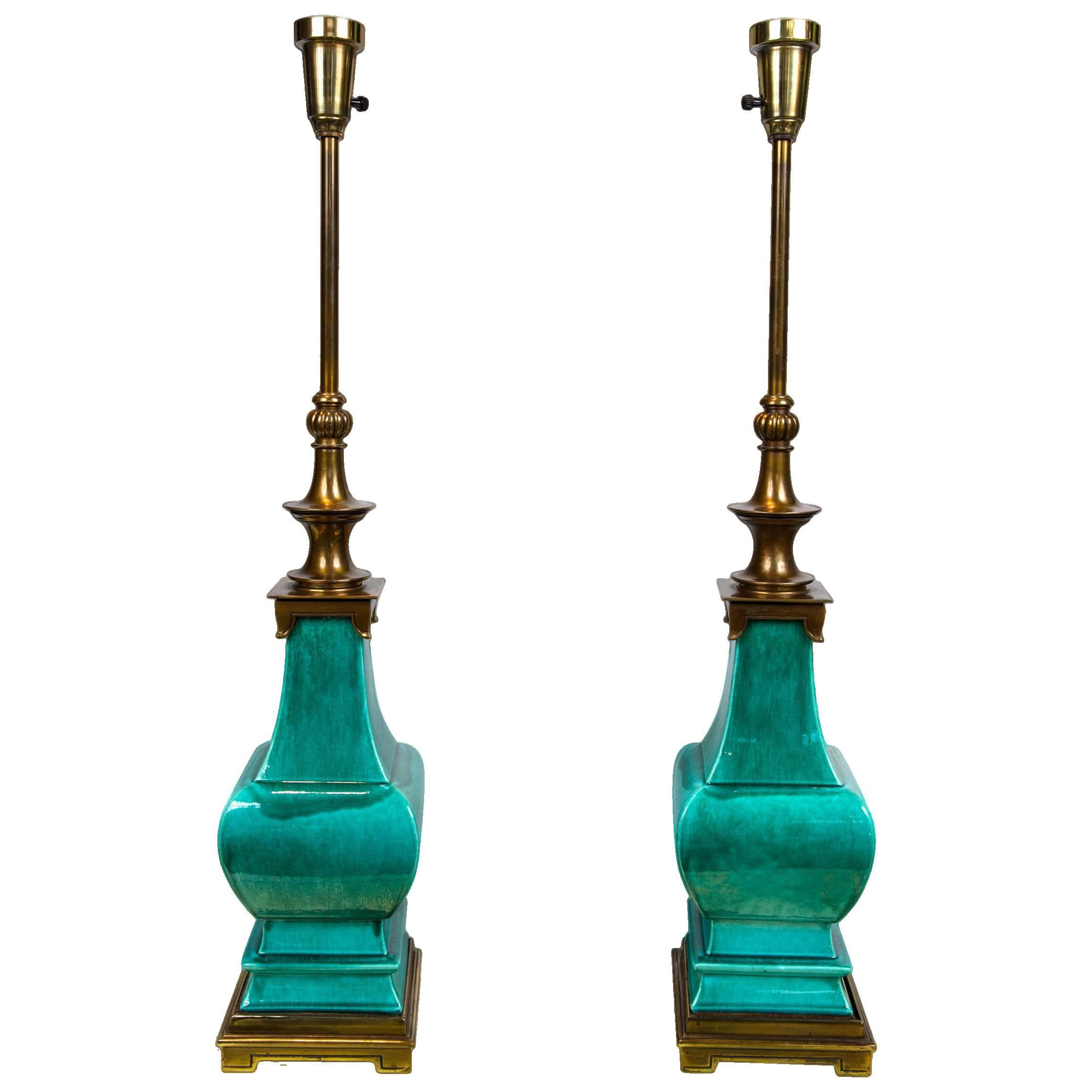 Vintage mid century green glazed pagoda style stiffel lamps a pair chairish