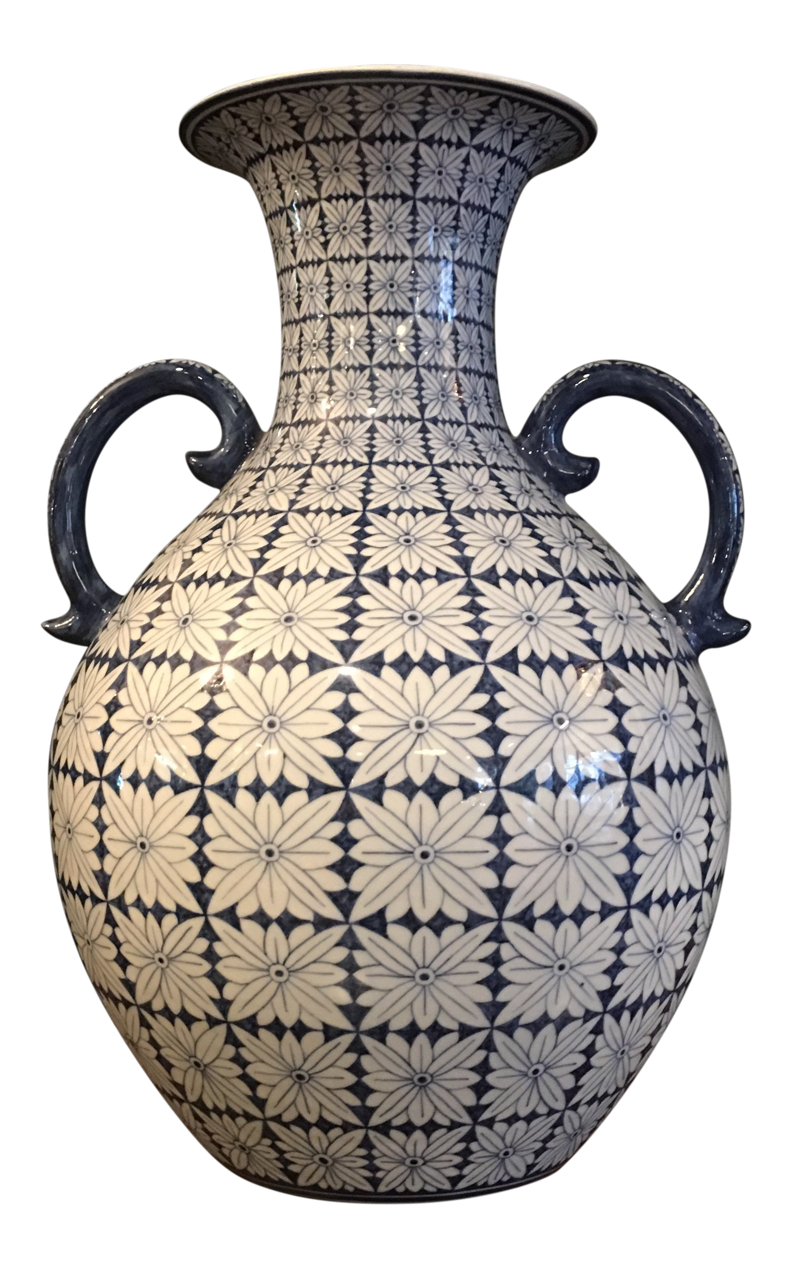 Chinese Ceramic Blue and White Pottery Vase With Handles | Chairish