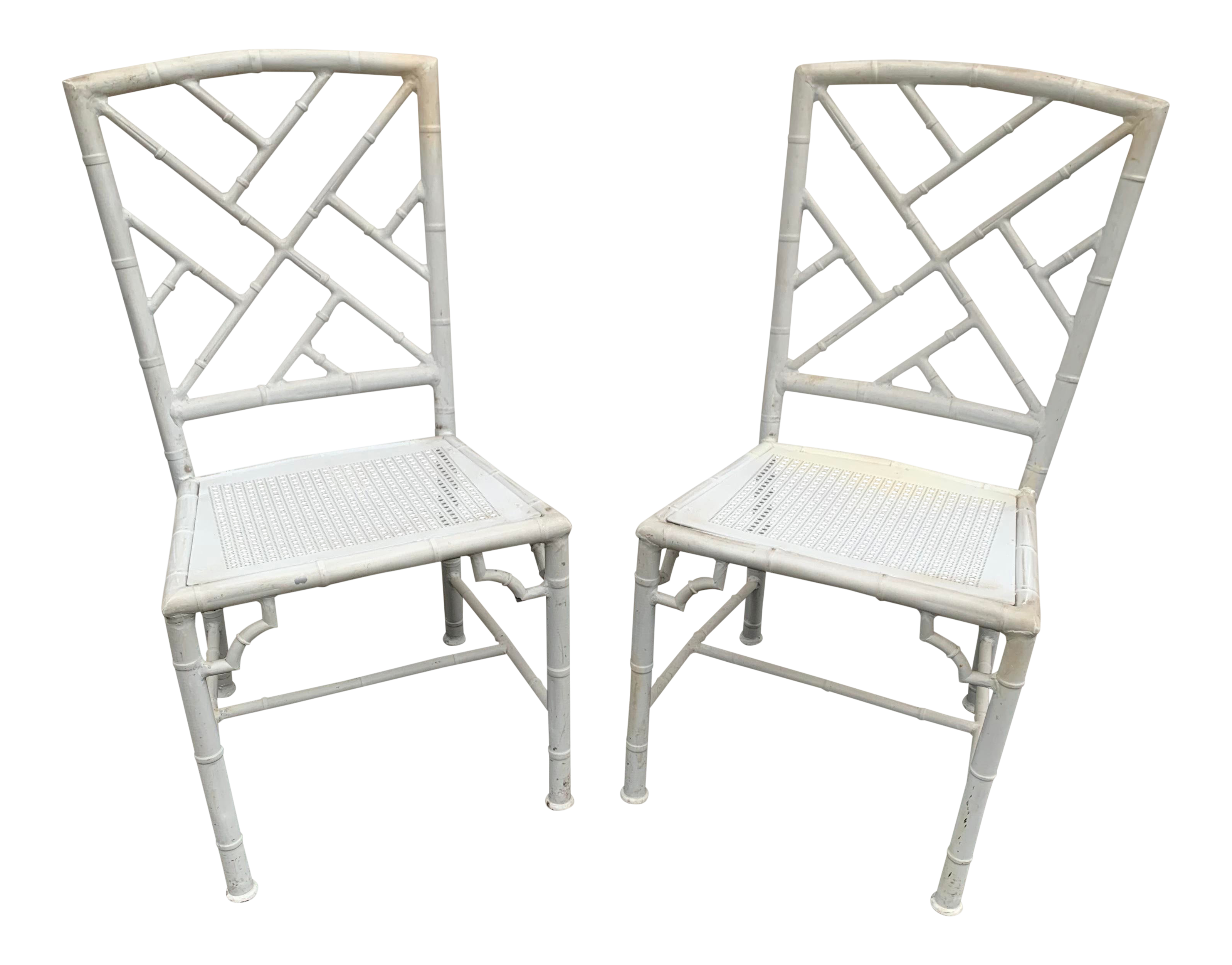 Pair Of Metal Faux Bamboo Chinese Chippendale Chairs With Caning