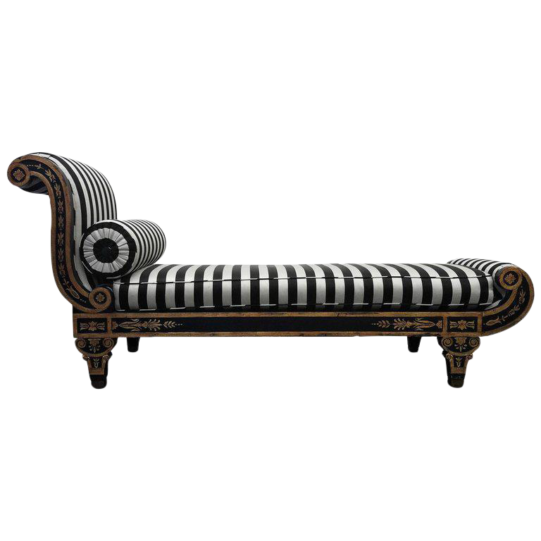 Vintage Regency Style Cleopatra Chaise Lounge Chair