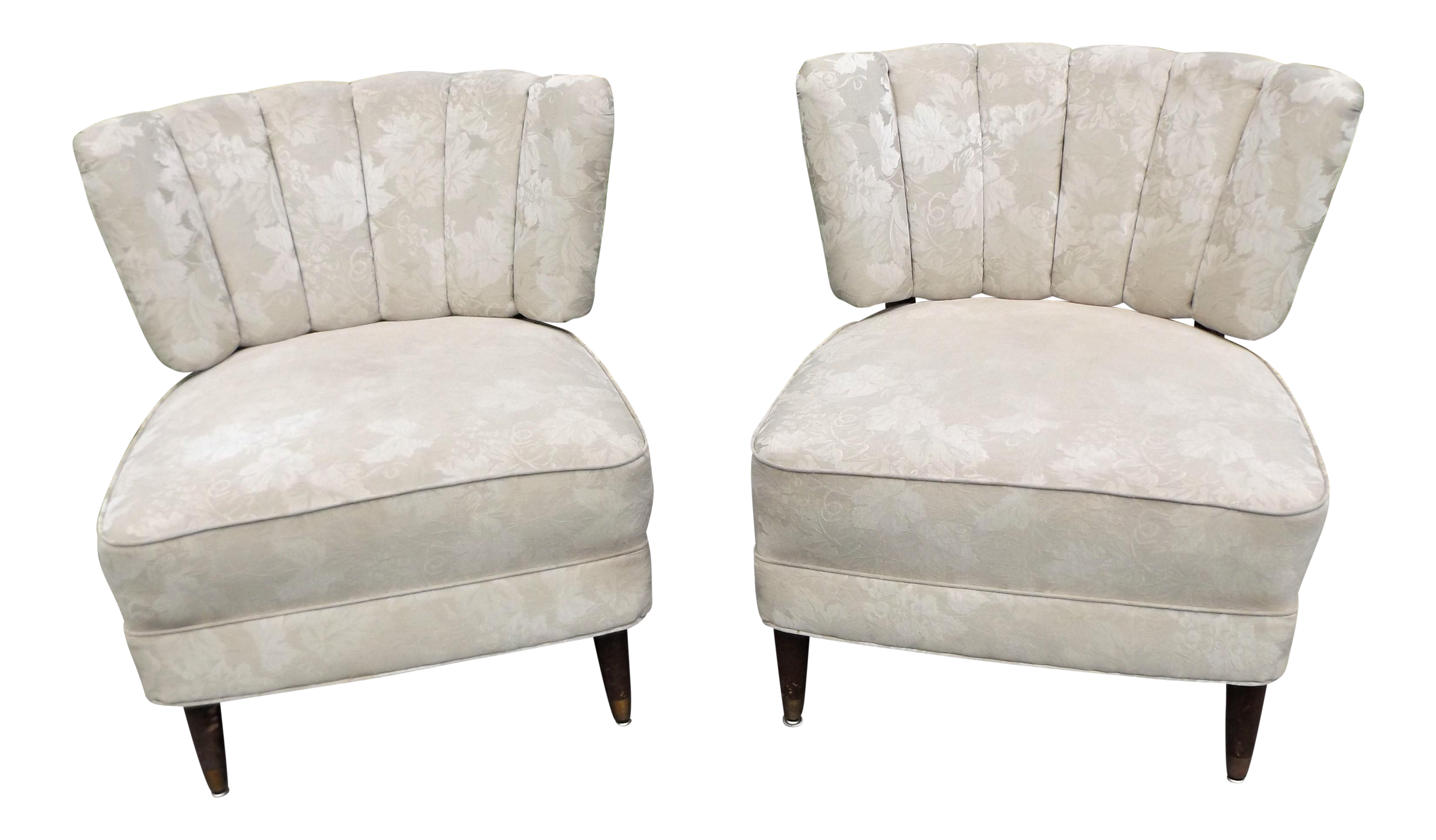 Taupe Accent Chairs.Mid Century Vintage Taupe Accent Side Chairs A Pair