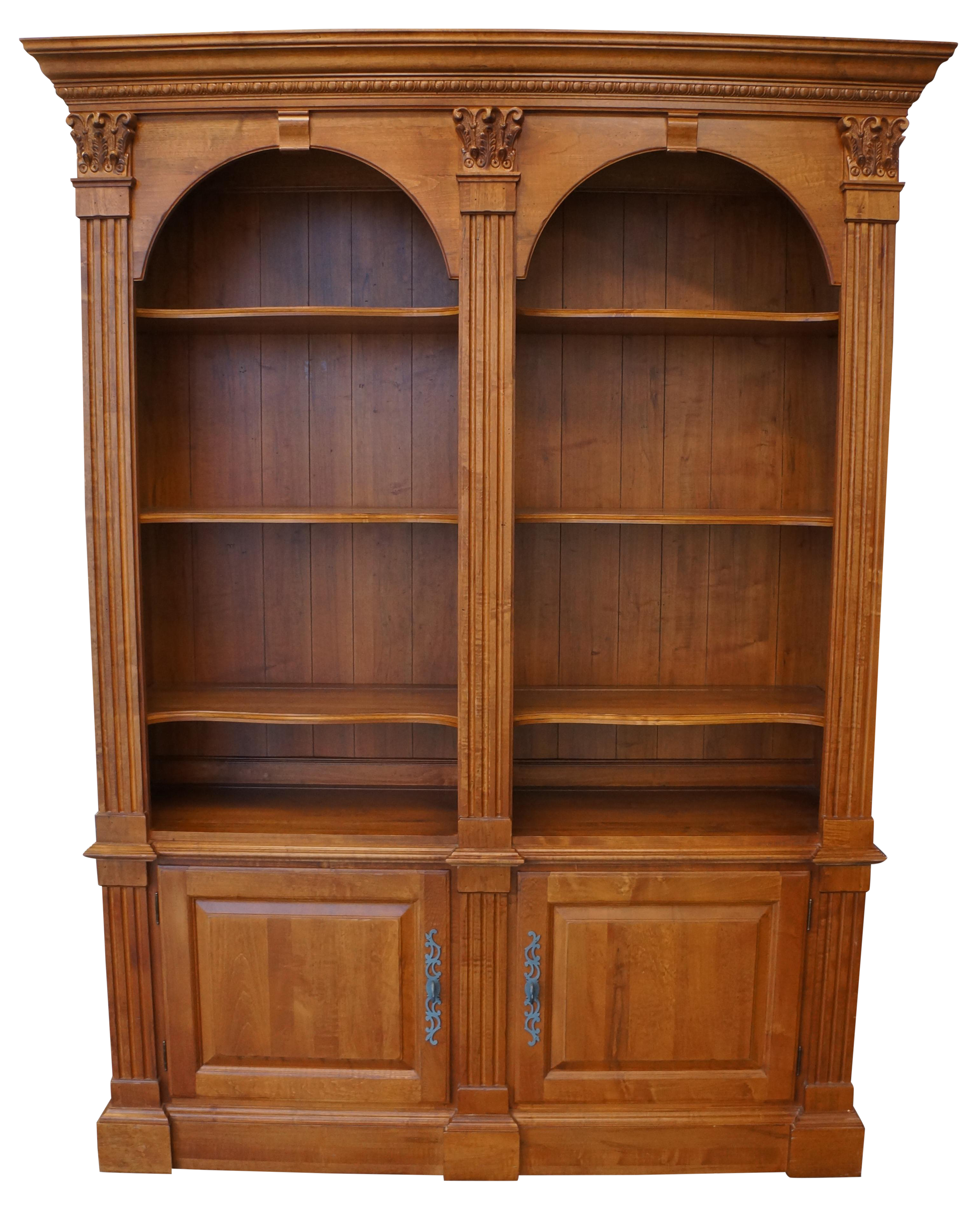 double library aspect bookcases cabinet fit width legacy allen arch ethan bookcase height