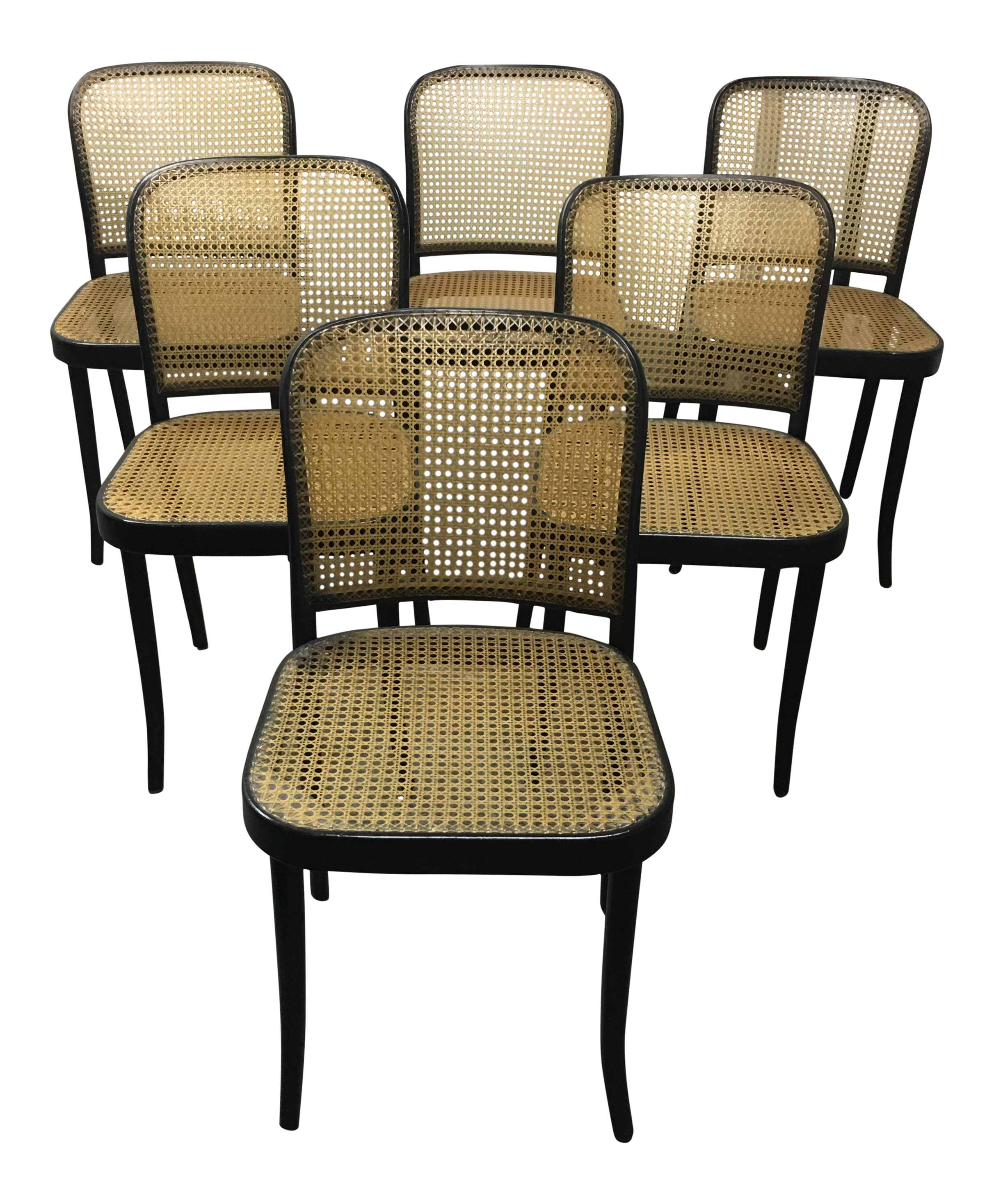Stendig Thonet Black Bentwood Prague Dining Chairs Set