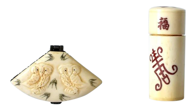 Vintage Carved Bone Pillbox Toothpick Holder With Owls And Longevity Symbol Chairish