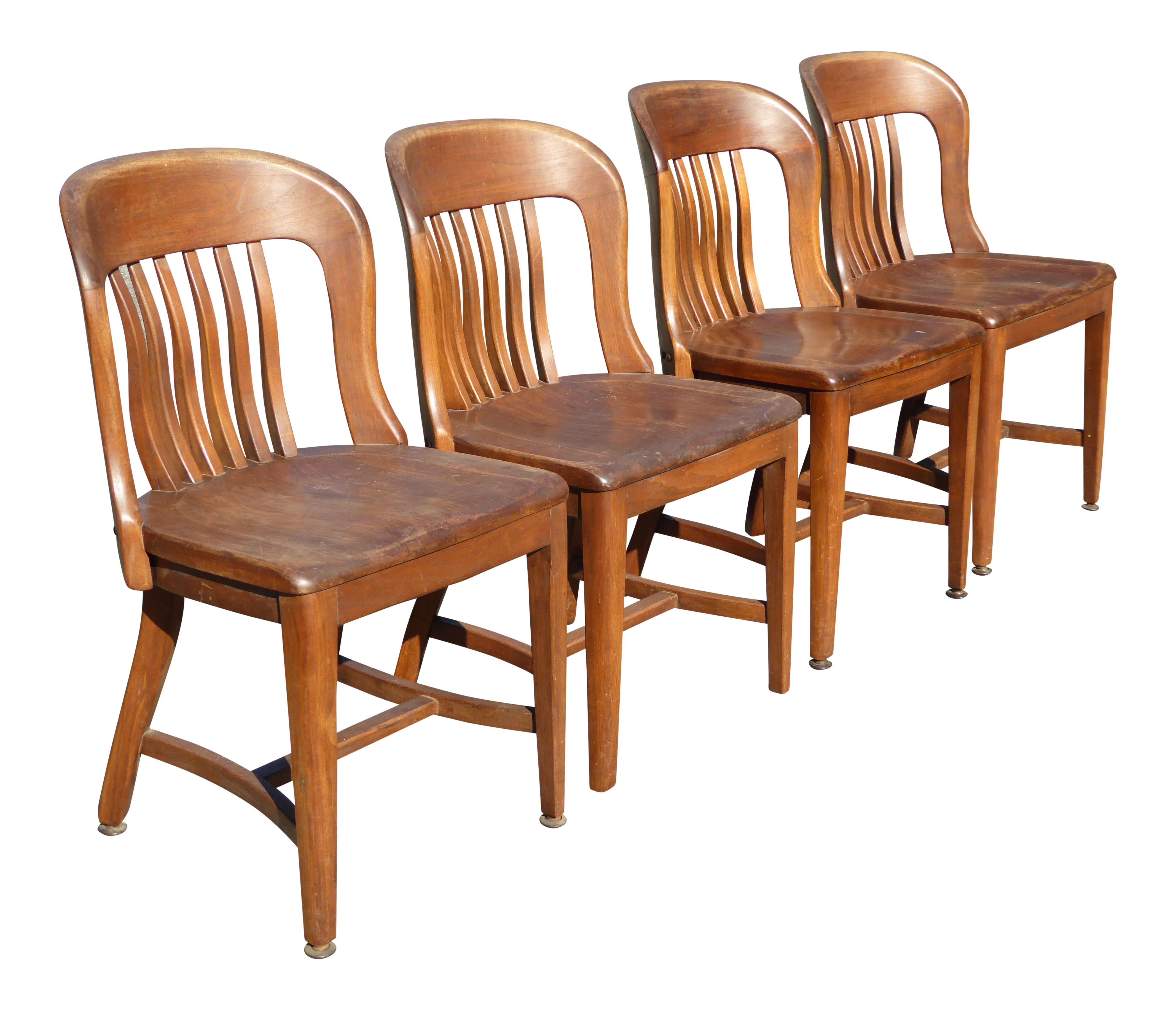 set of 4 vintage mid century brown solid wood farmhouse chic library