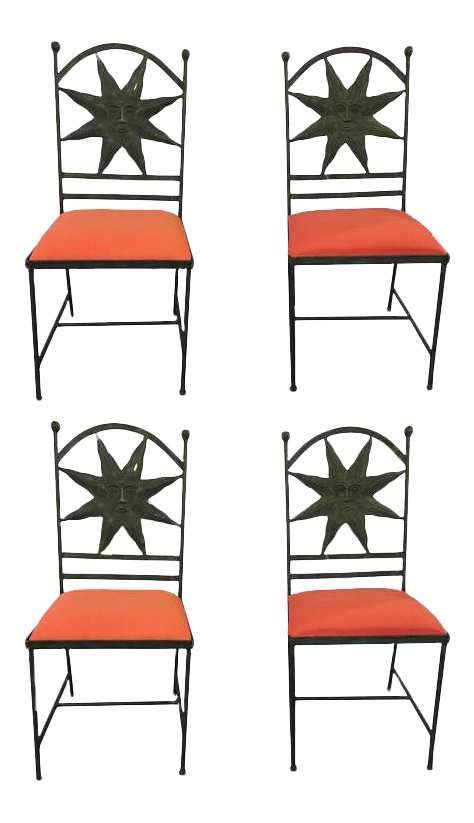 High End Hollywood Regency Metal Side Chairs   Set Of 4 | DECASO