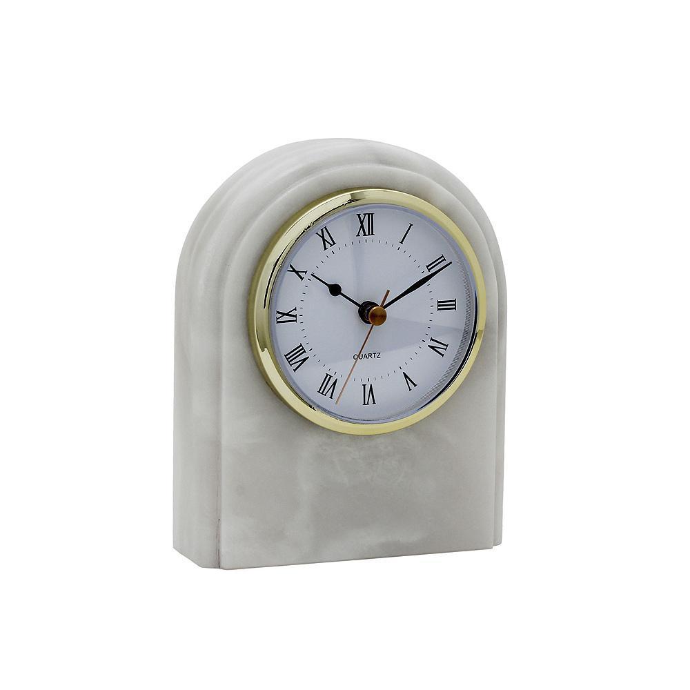 Pearl White Marble Desk Clock