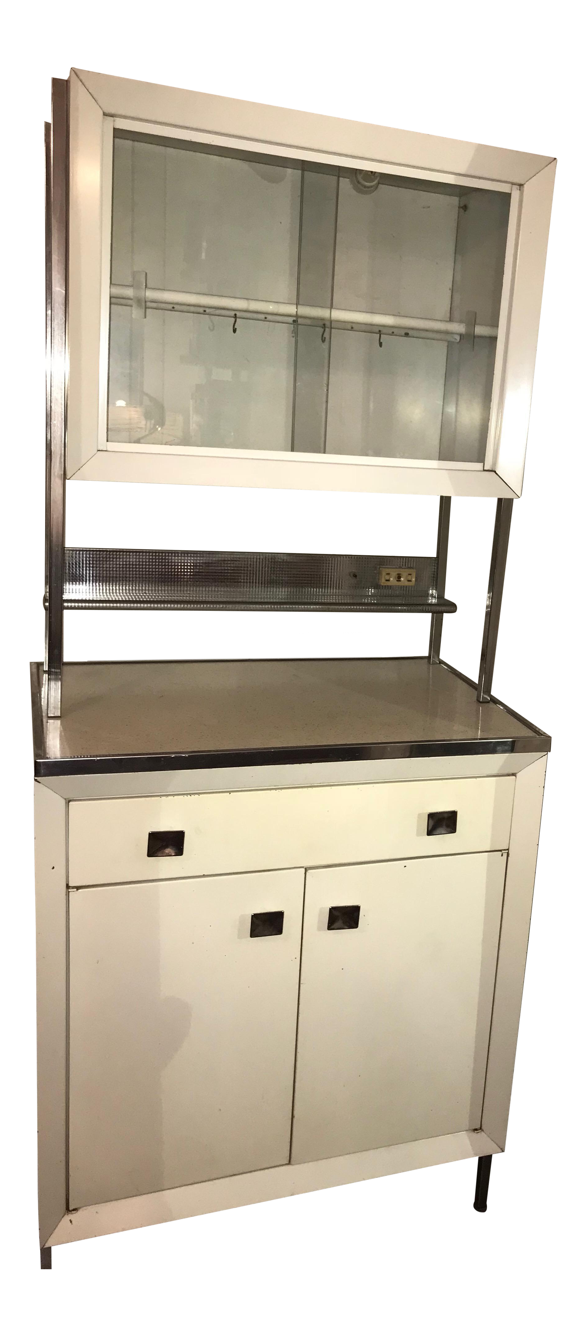 Image of: Vintage Kitchen 1950s Atomic Mid Century Modern White Metal Hutch Cabinet Chairish