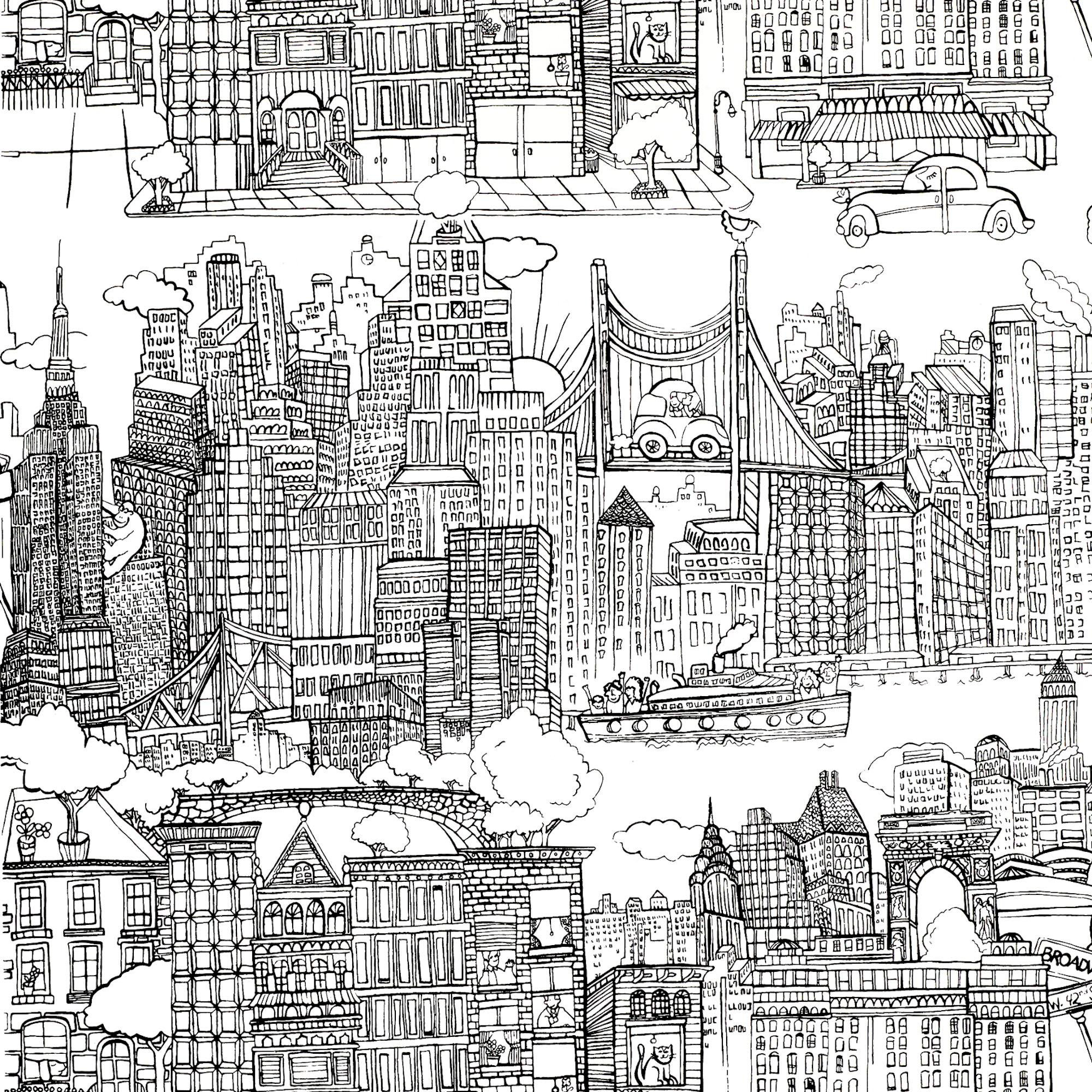 Sample Schumacher New York New York Wallpaper In Black On White